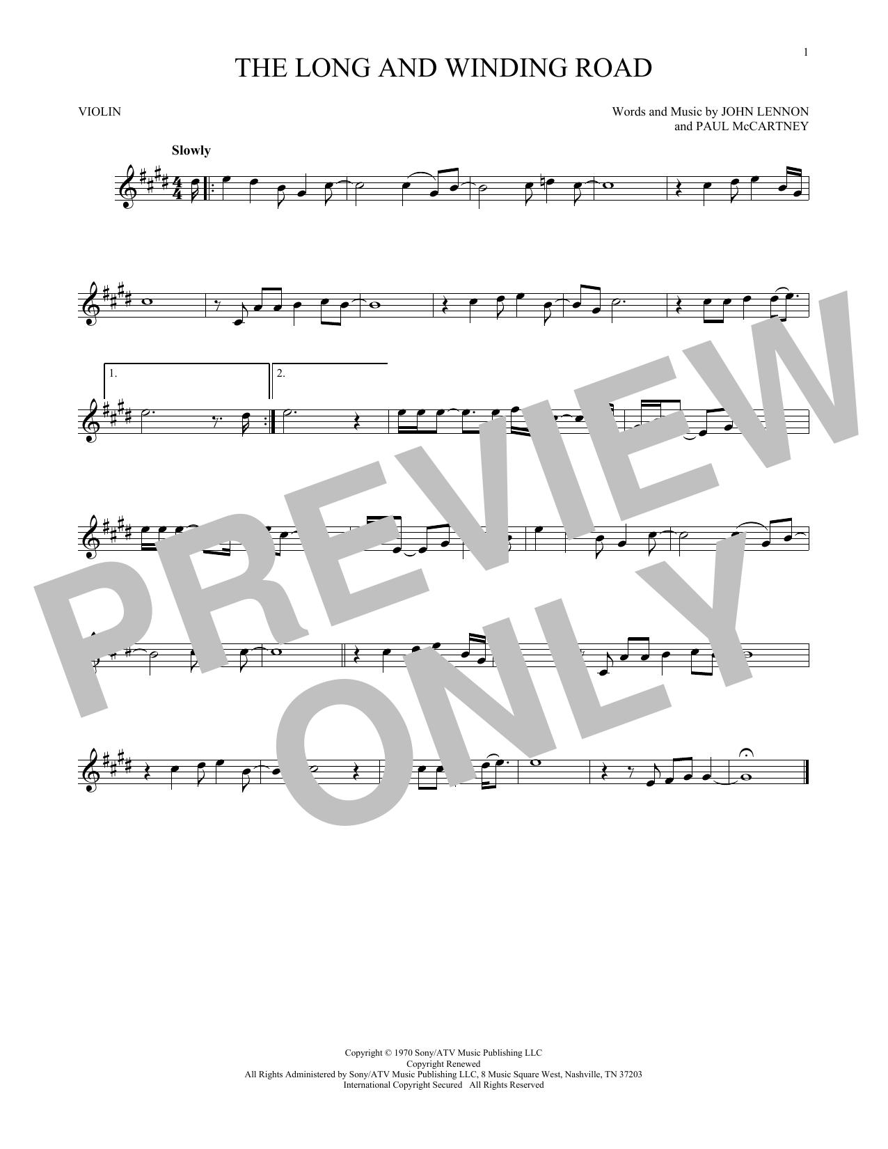 Partition autre The Long And Winding Road de The Beatles - Violon