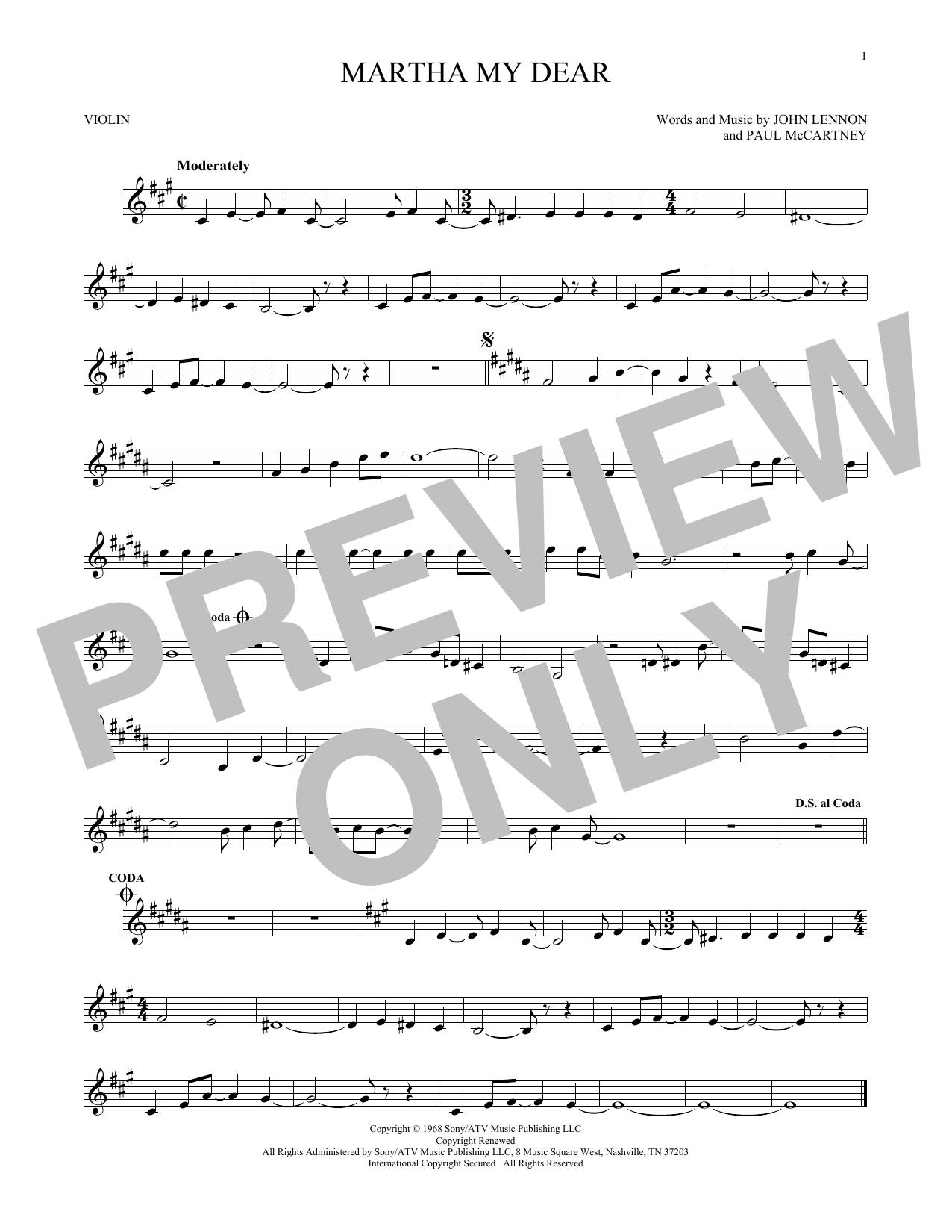 Partition autre Martha My Dear de The Beatles - Violon