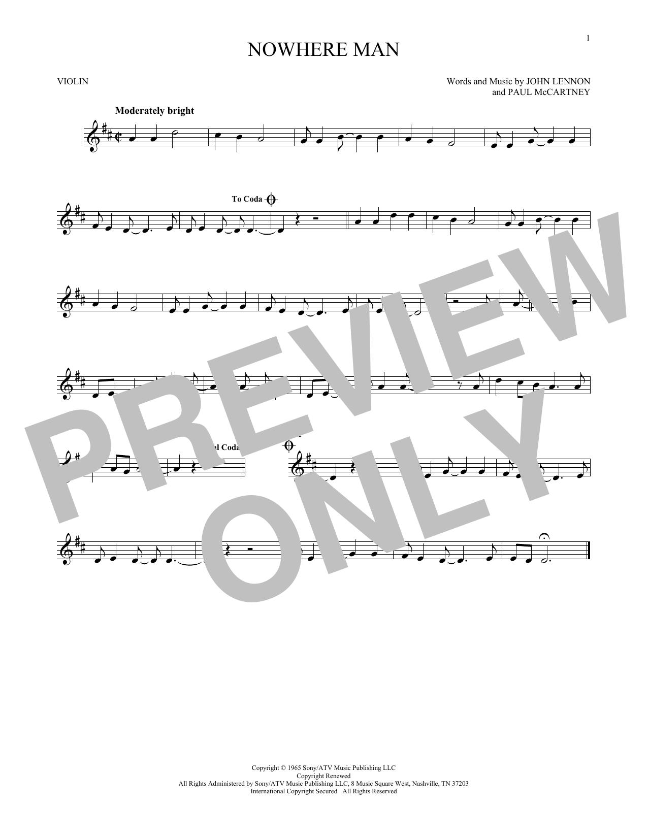 Partition autre Nowhere Man de The Beatles - Violon
