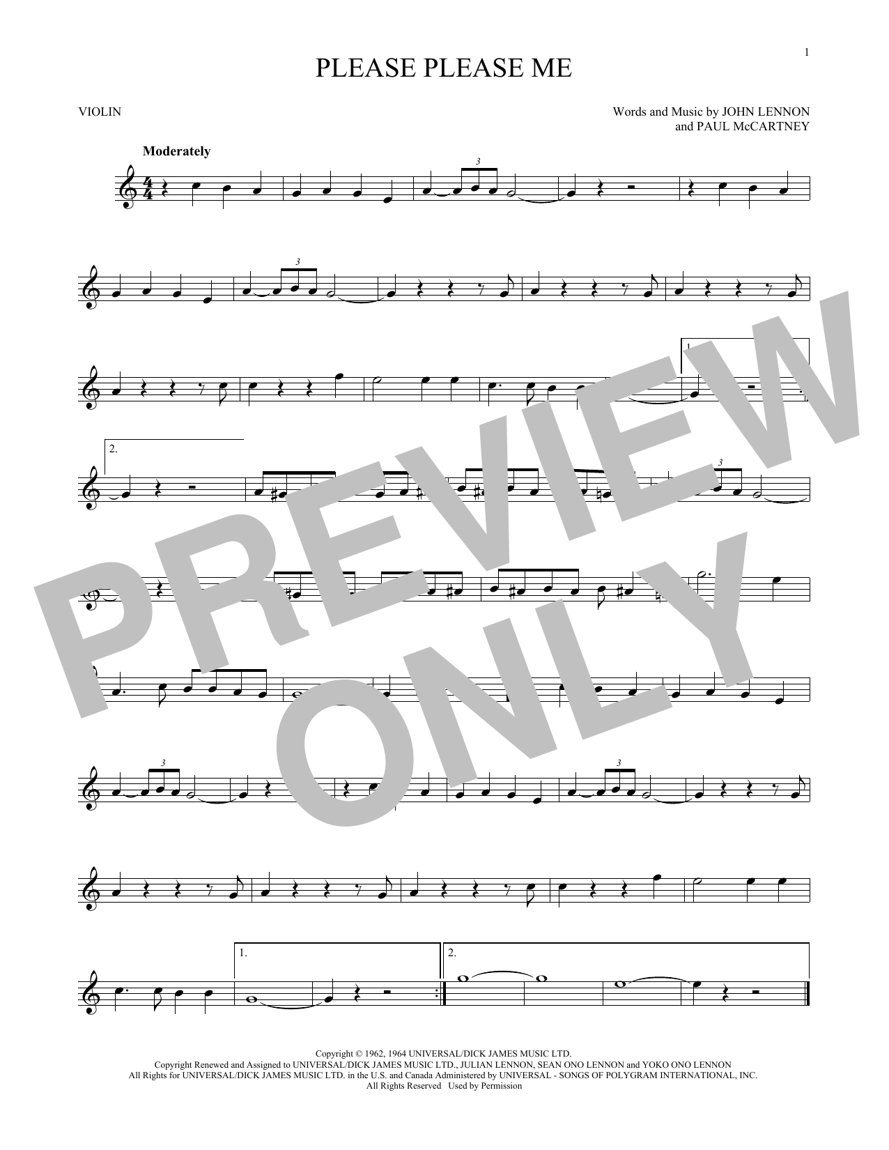 Partition autre Please Please Me de The Beatles - Violon