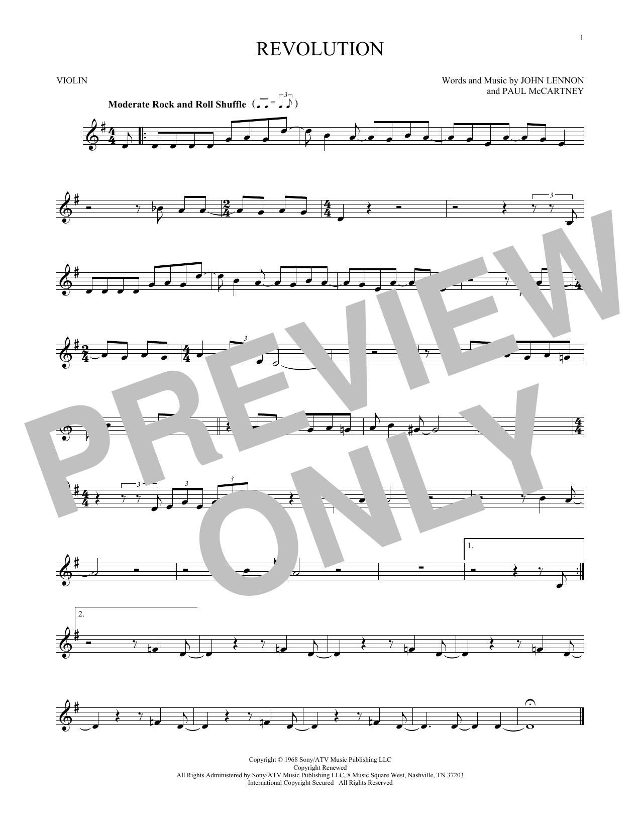 Partition autre Revolution de The Beatles - Violon