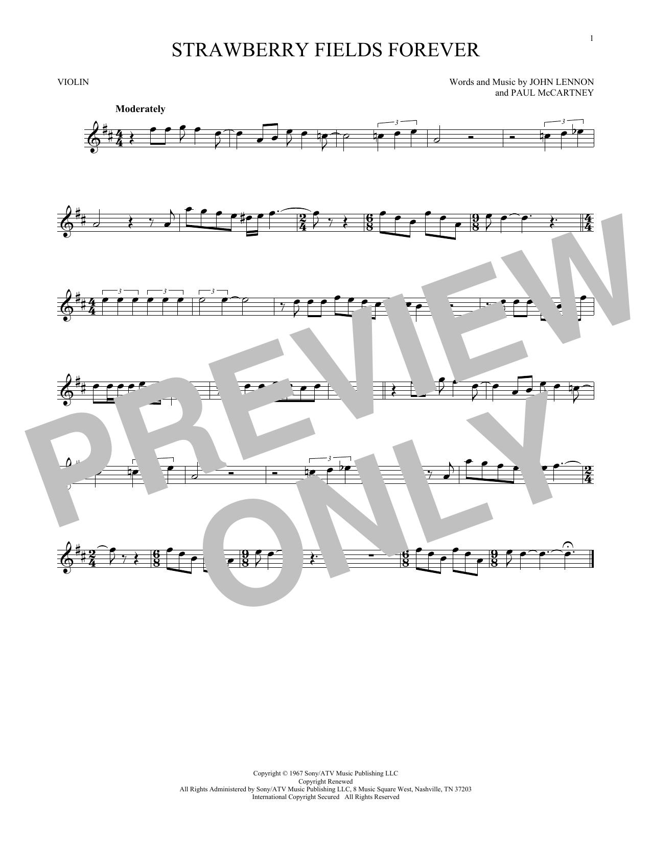 Partition autre Strawberry Fields Forever de The Beatles - Violon