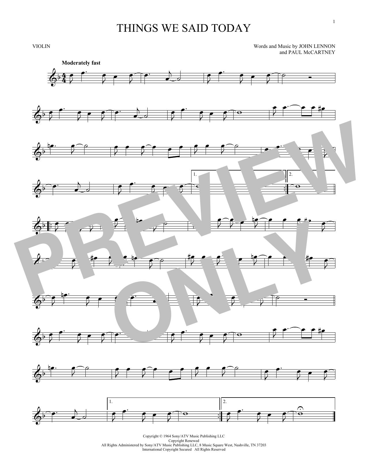 Partition autre Things We Said Today de The Beatles - Violon