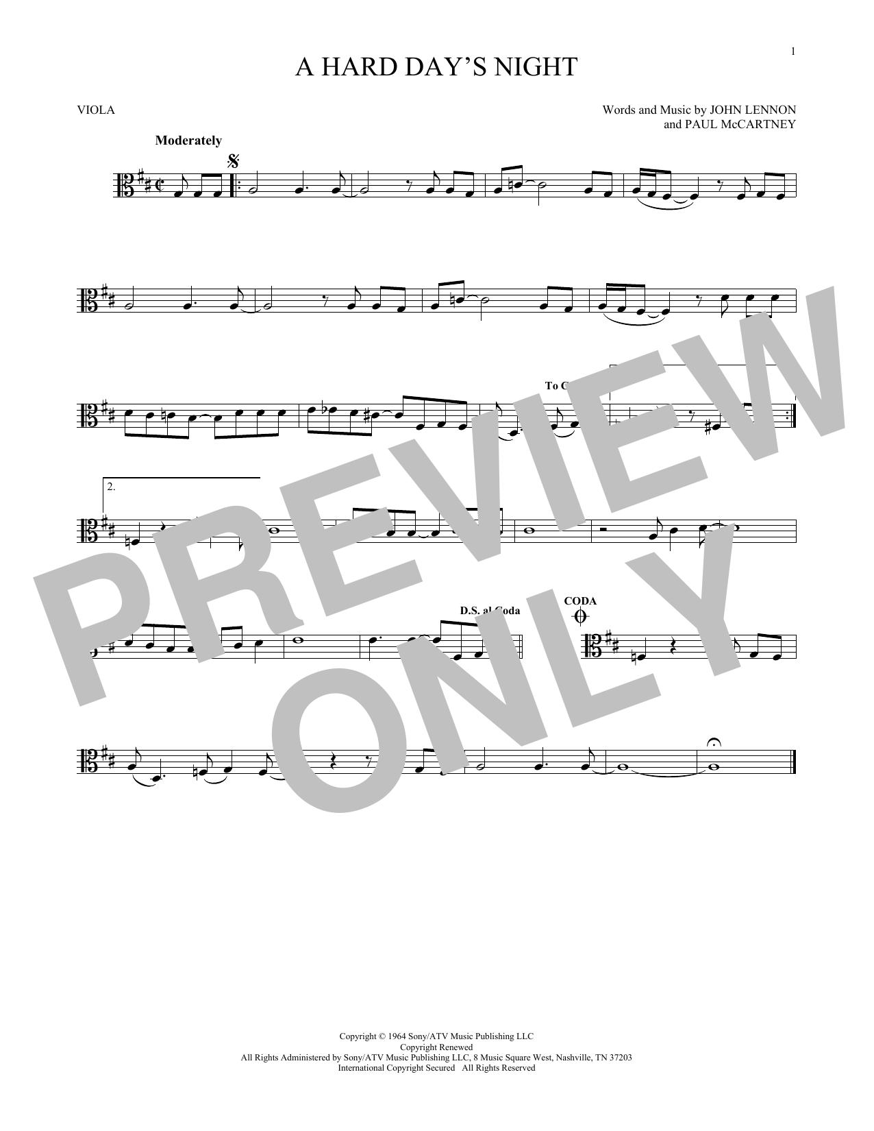 Partition autre A Hard Day's Night de The Beatles - Alto