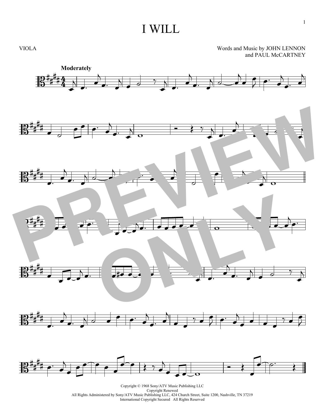 Partition autre I Will de The Beatles - Alto