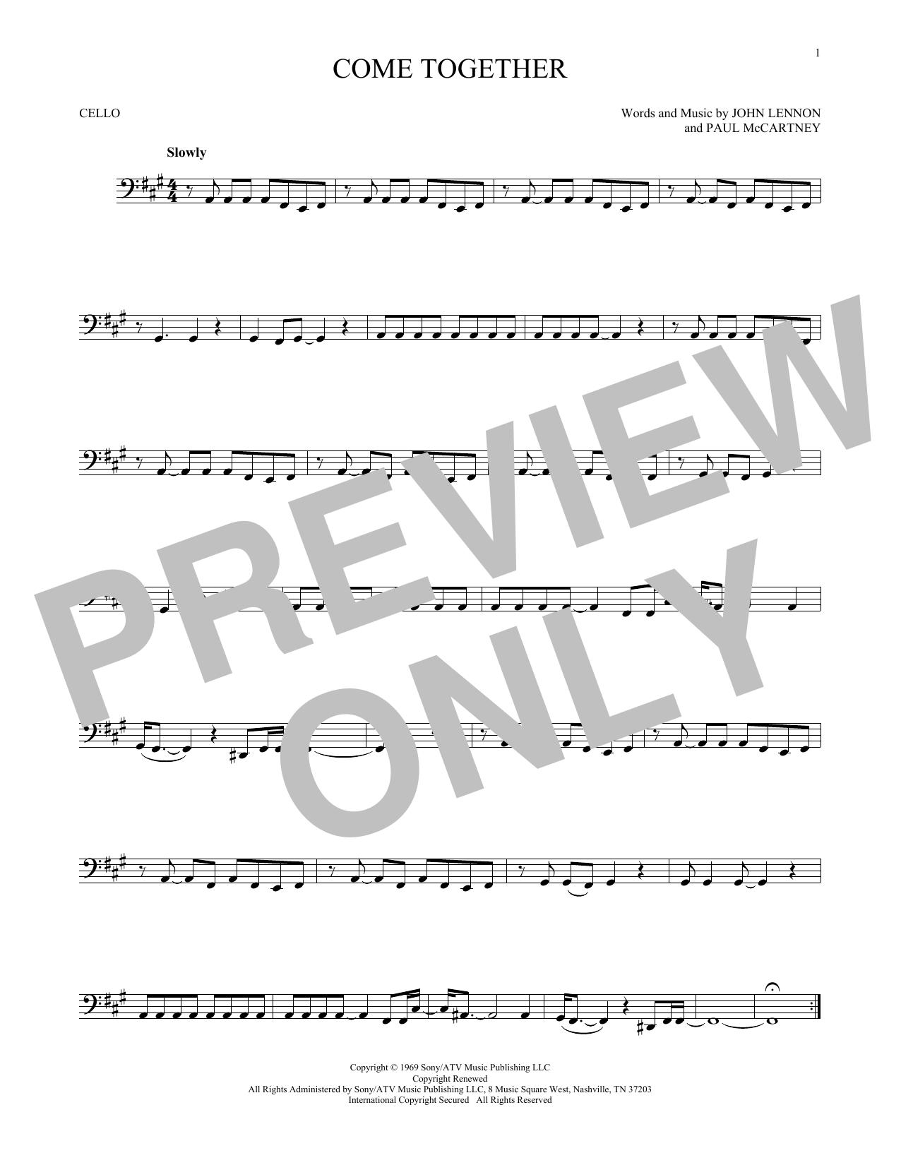 Partition autre Come Together de The Beatles - Violoncelle