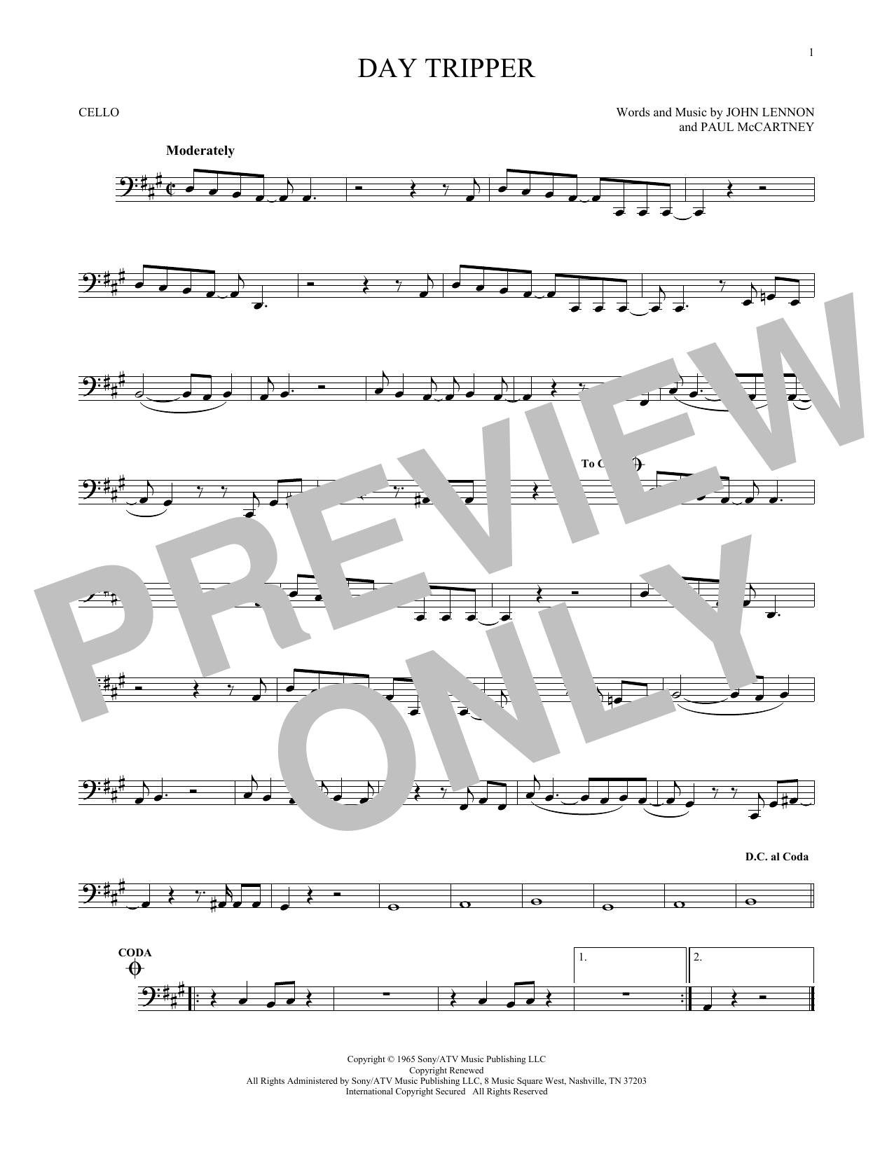 Partition autre Day Tripper de The Beatles - Violoncelle