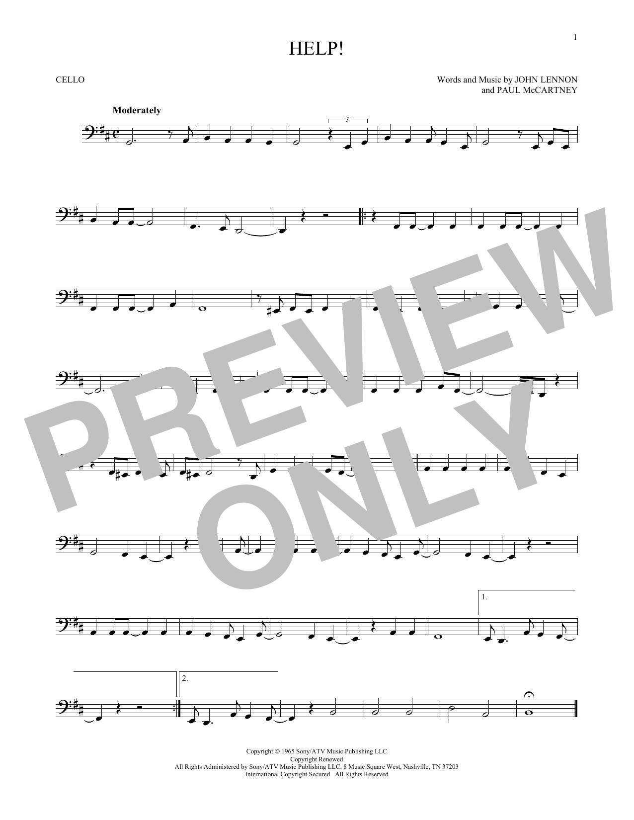 Partition autre Help! de The Beatles - Violoncelle