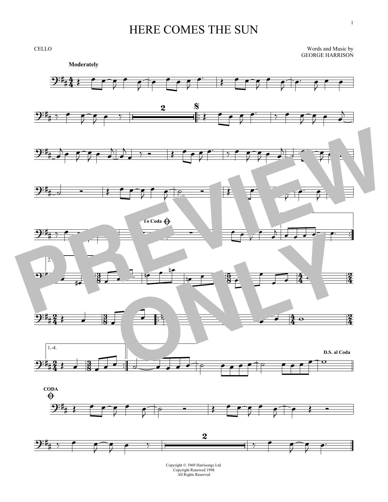 Partition autre Here Comes The Sun de The Beatles - Violoncelle