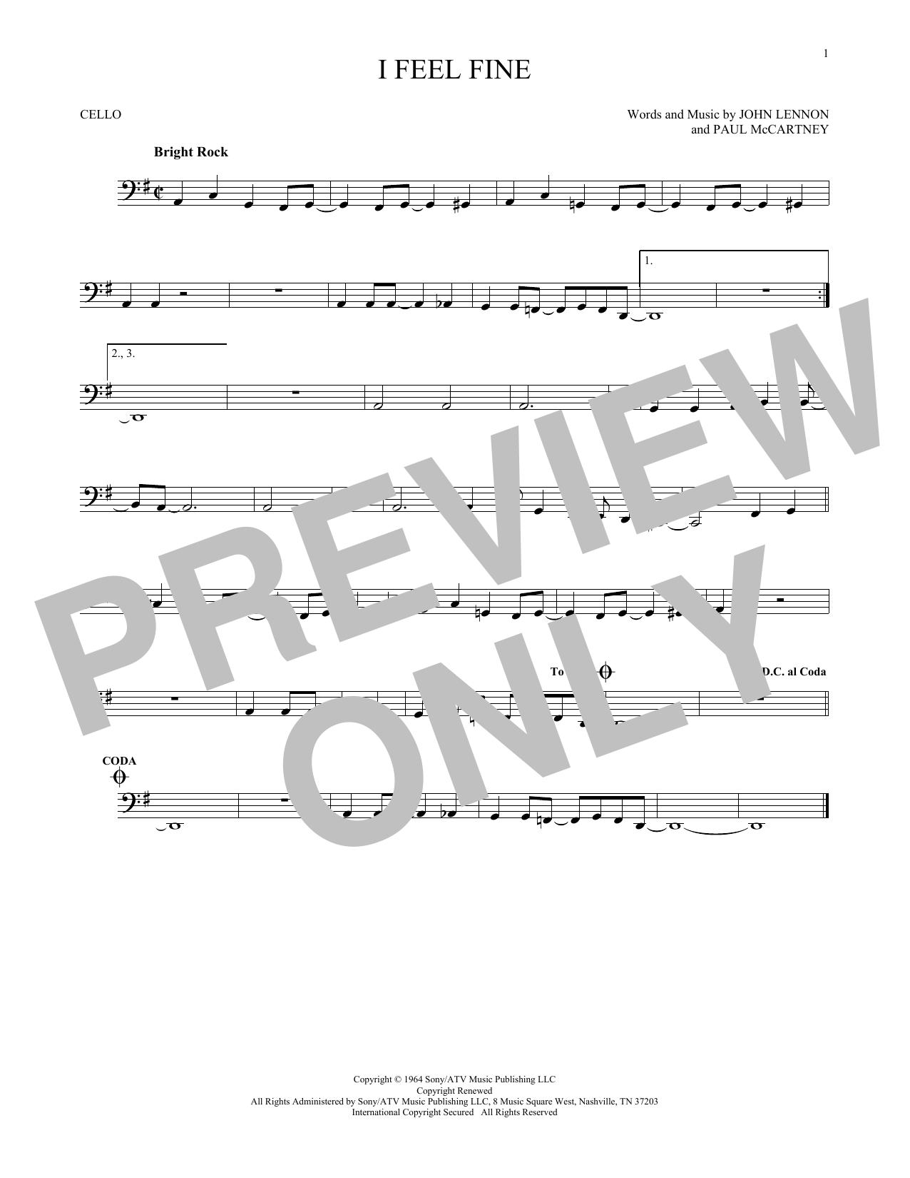 Partition autre I Feel Fine de The Beatles - Violoncelle