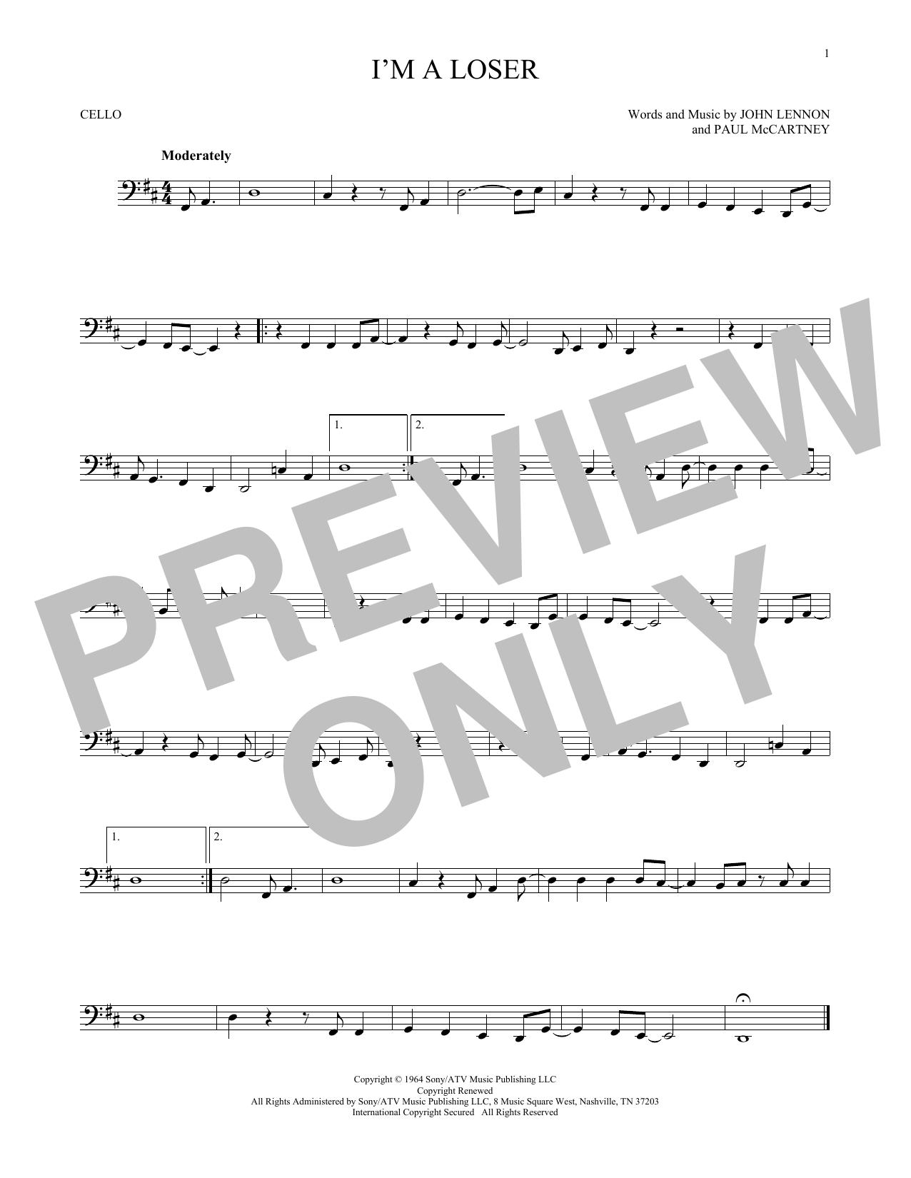 Partition autre I'm A Loser de The Beatles - Violoncelle