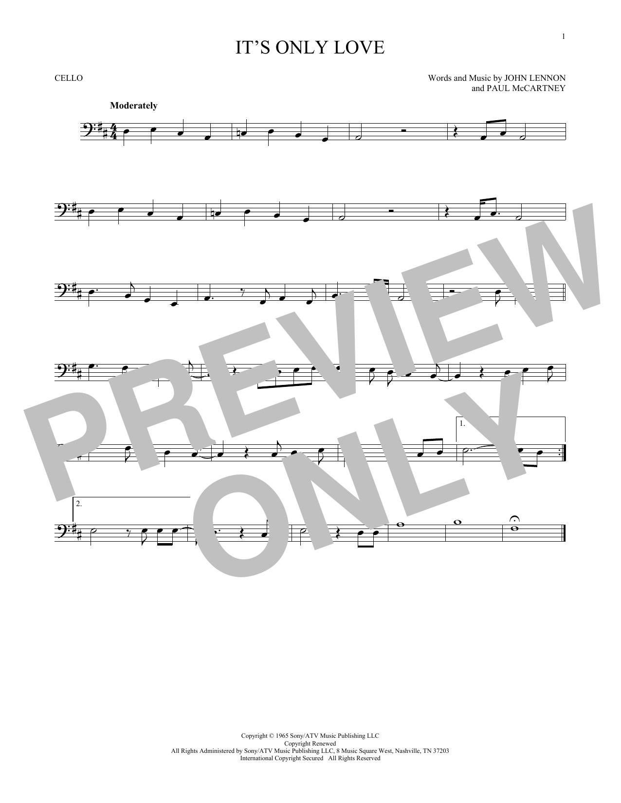 Partition autre It's Only Love de The Beatles - Violoncelle