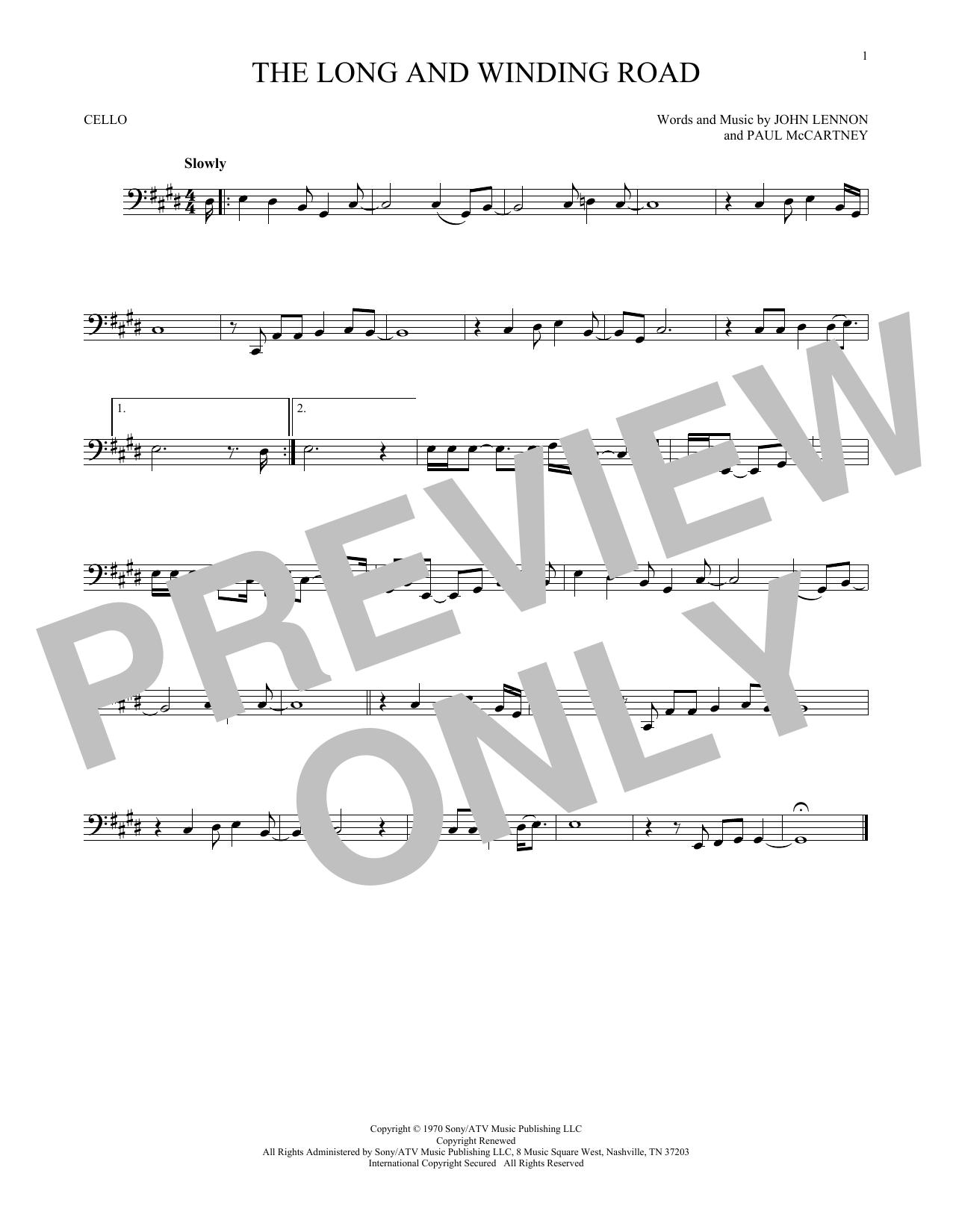 Partition autre The Long And Winding Road de The Beatles - Violoncelle