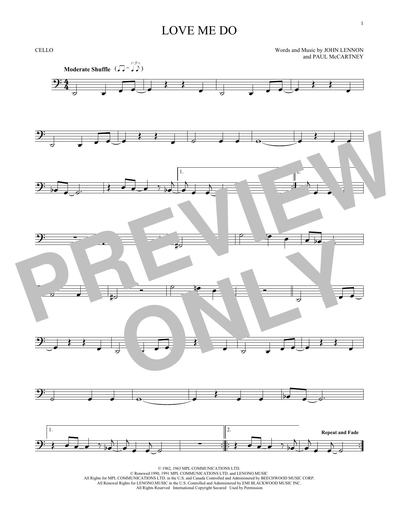 Partition autre Love Me Do de The Beatles - Violoncelle