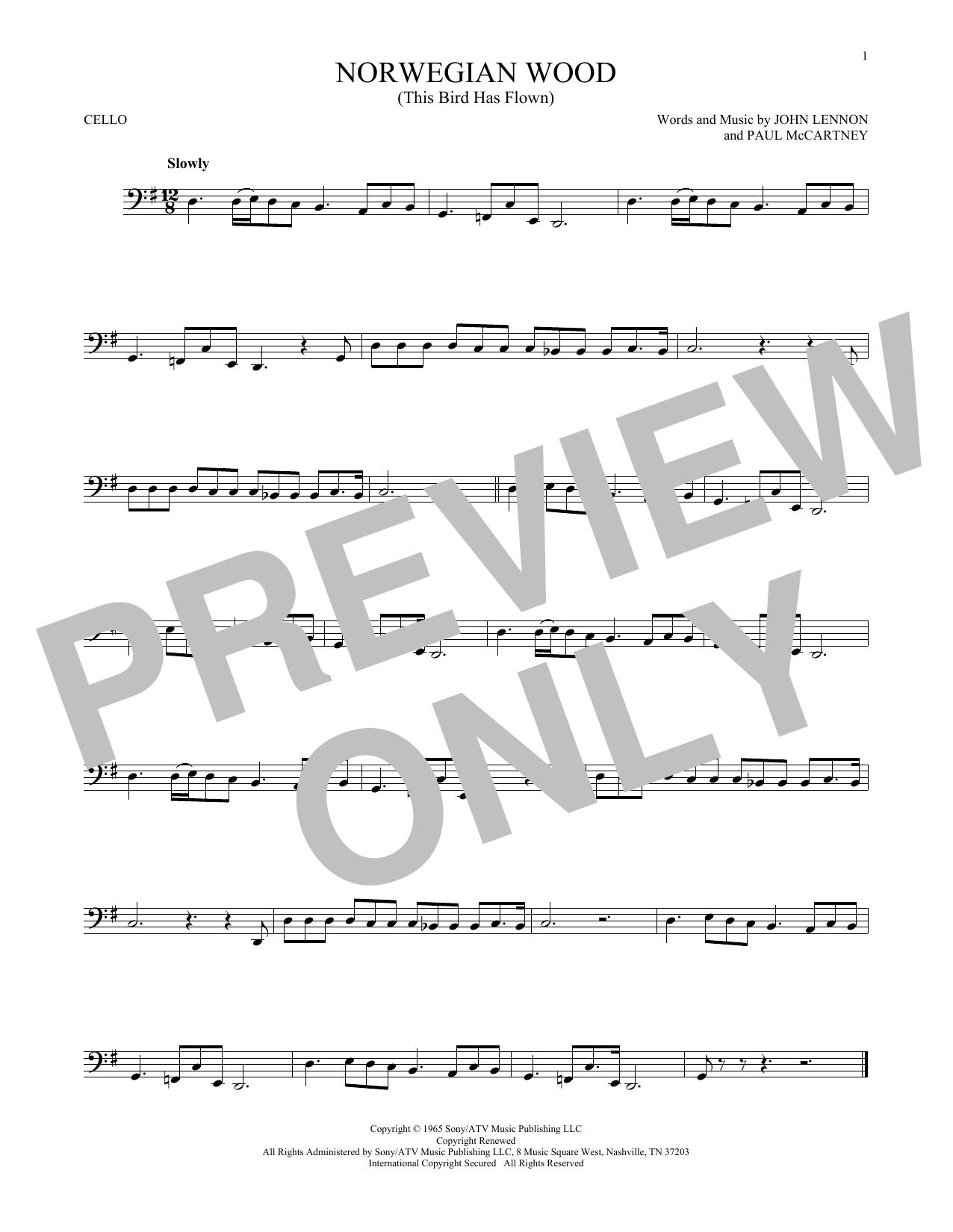 Partition autre Norwegian Wood (This Bird Has Flown) de The Beatles - Violoncelle