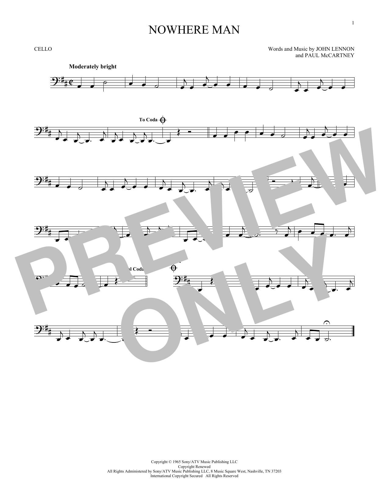 Partition autre Nowhere Man de The Beatles - Violoncelle