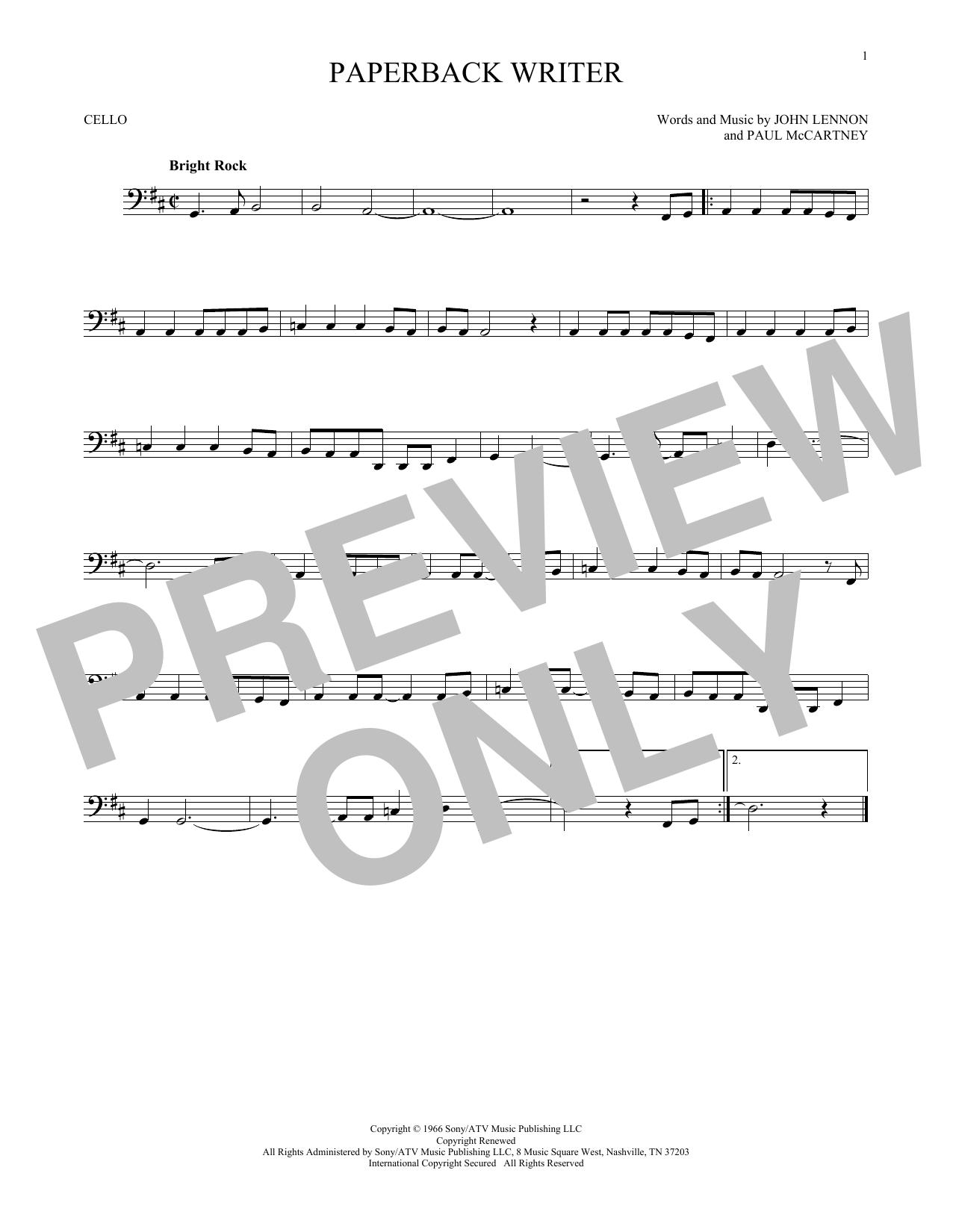 Partition autre Paperback Writer de The Beatles - Violoncelle