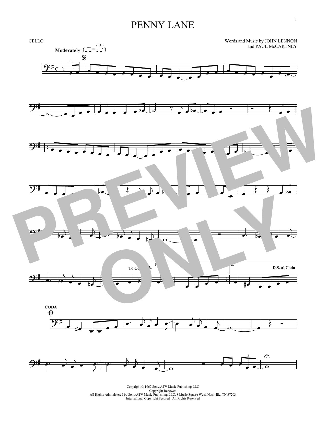 Partition autre Penny Lane de The Beatles - Violoncelle