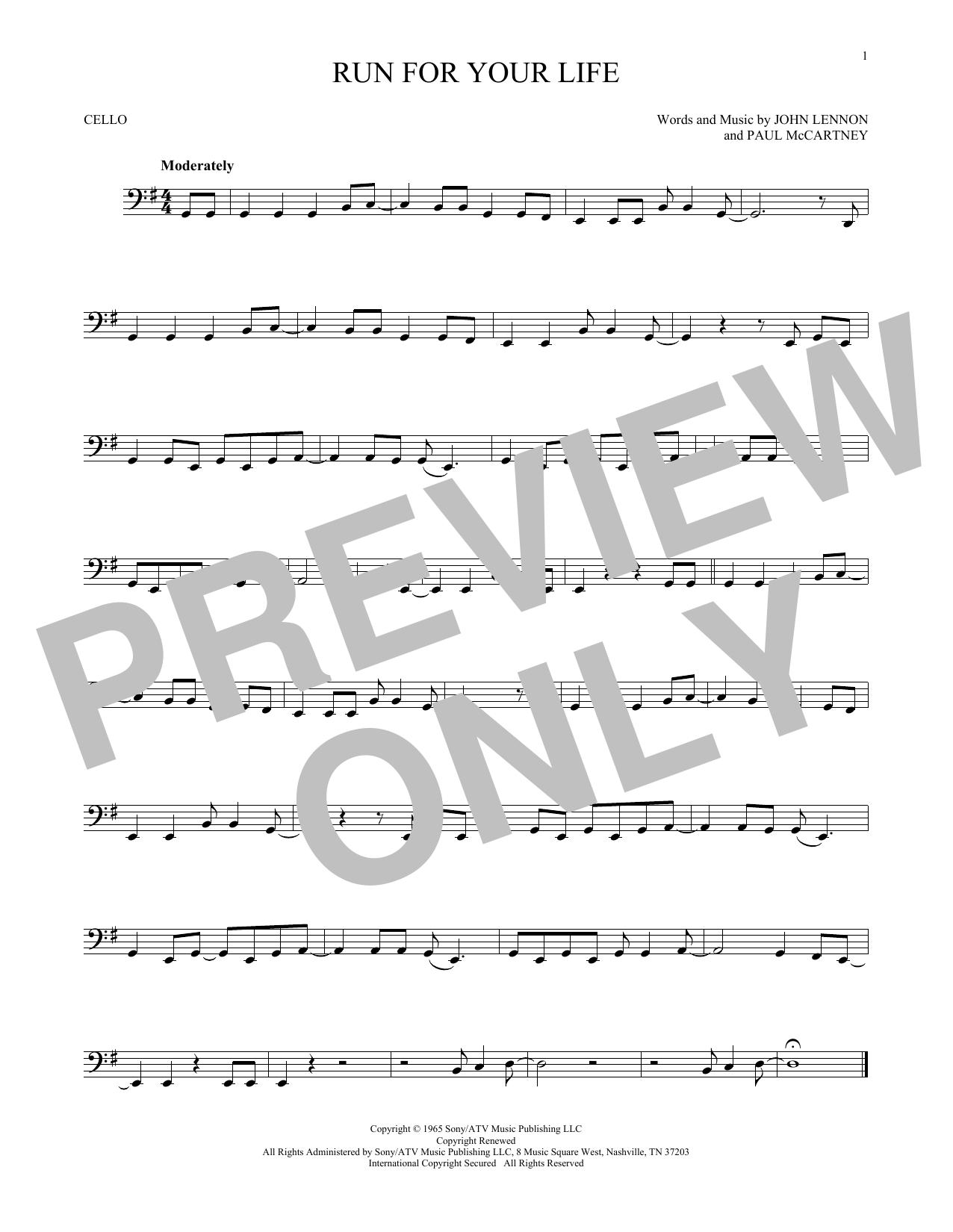 Partition autre Run For Your Life de The Beatles - Violoncelle