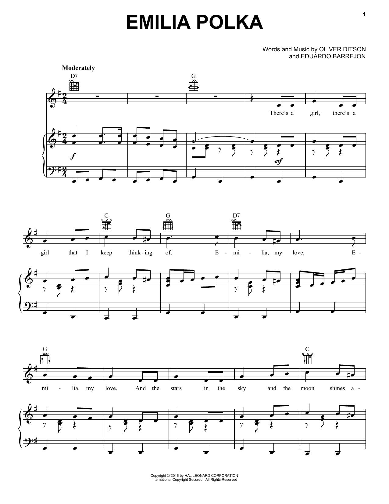 Partition piano Emilia Polka de Oliver Ditson & Eduardo Barrejon - Piano Voix Guitare (Mélodie Main Droite)