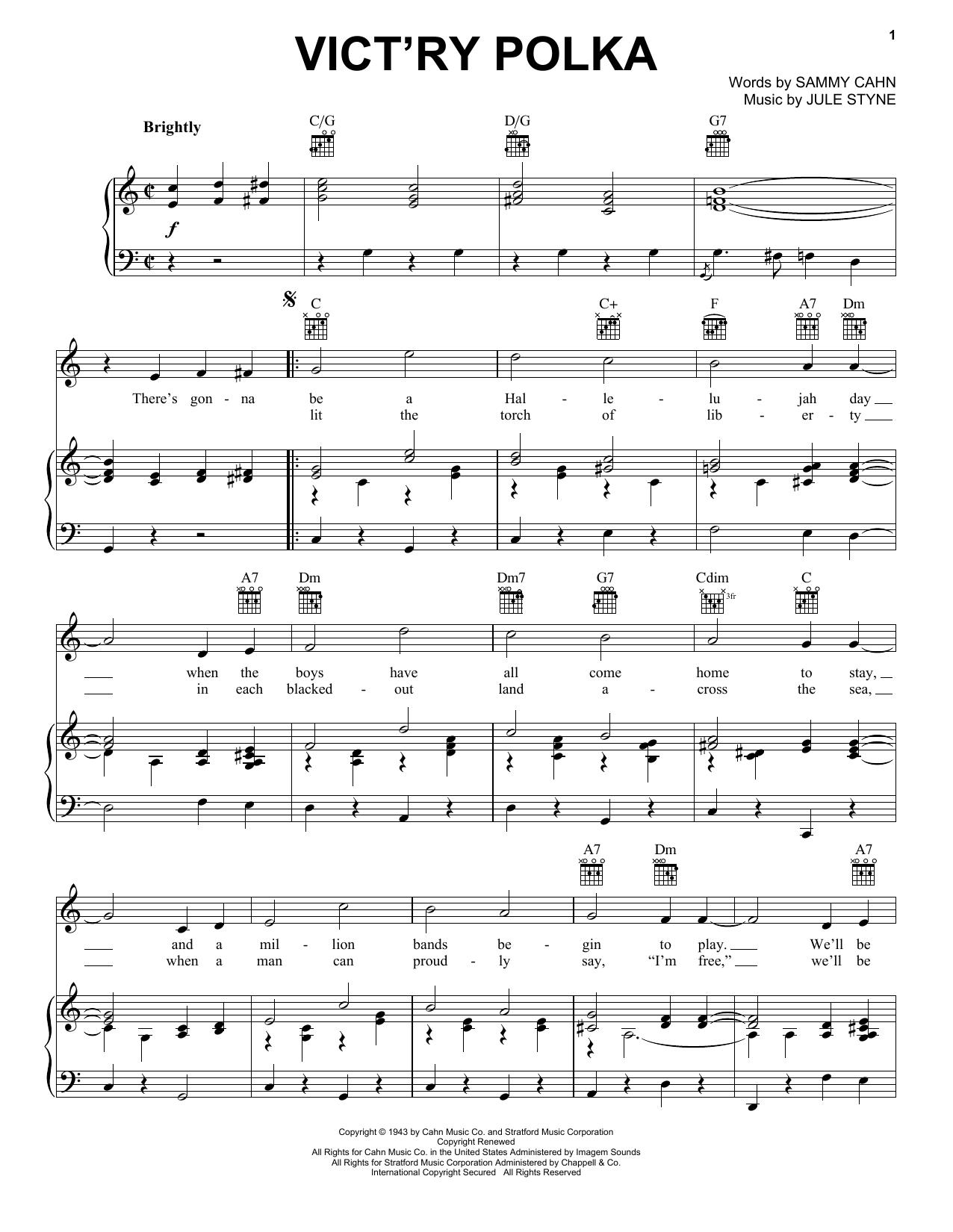 Partition piano Vict'ry Polka de Jule Styne - Piano Voix Guitare (Mélodie Main Droite)