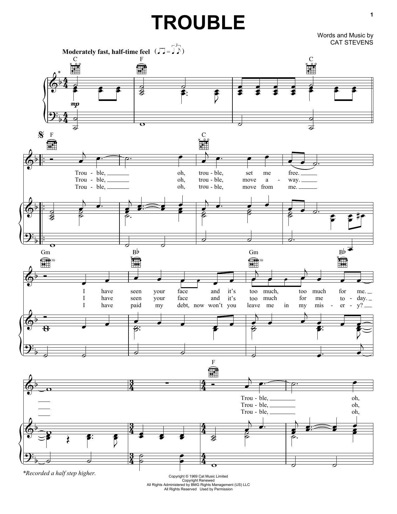 Partition piano Trouble de Cat Stevens - Piano Voix Guitare (Mélodie Main Droite)