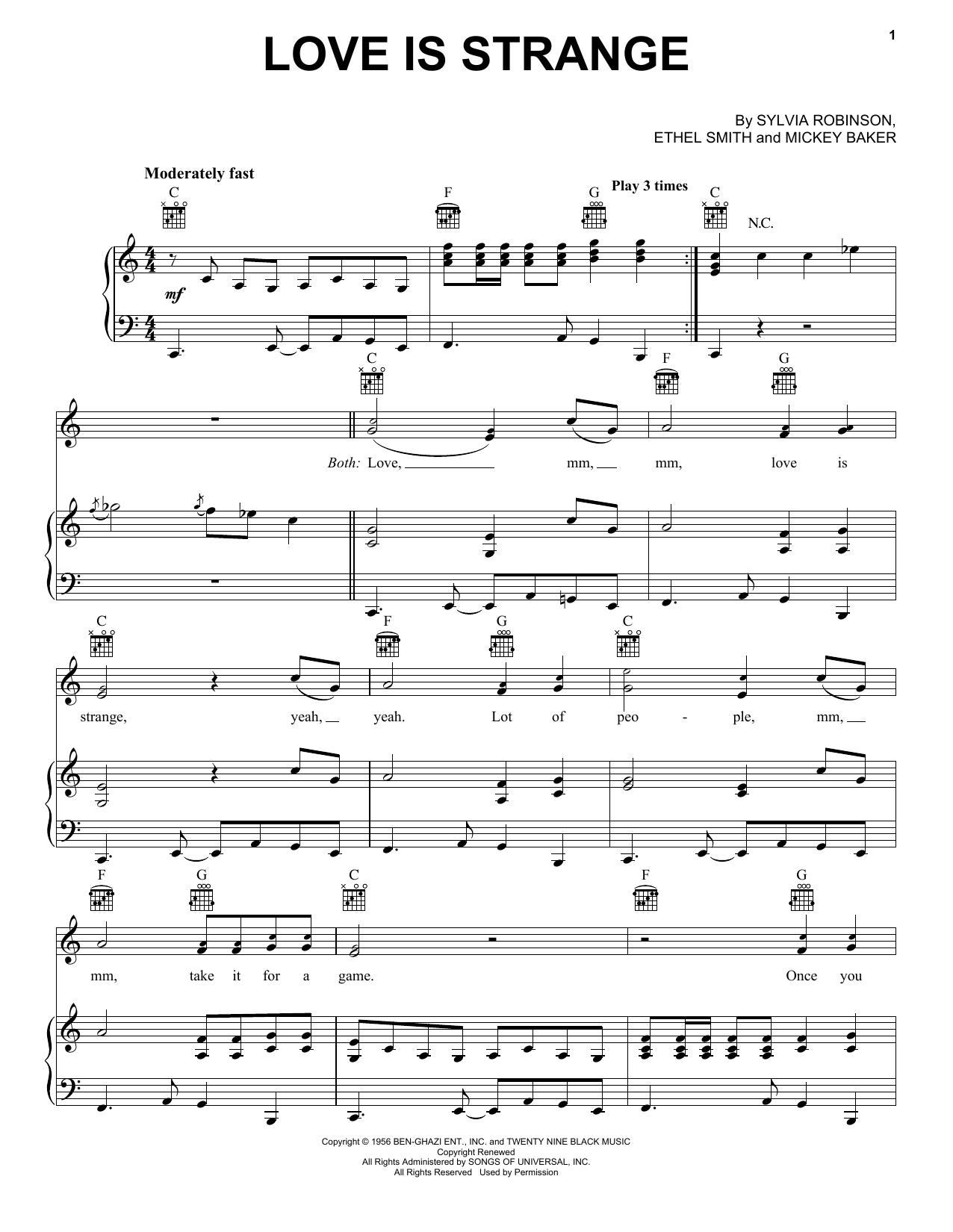 Partition piano Love Is Strange de Mickey & Sylvia - Piano Voix Guitare (Mélodie Main Droite)