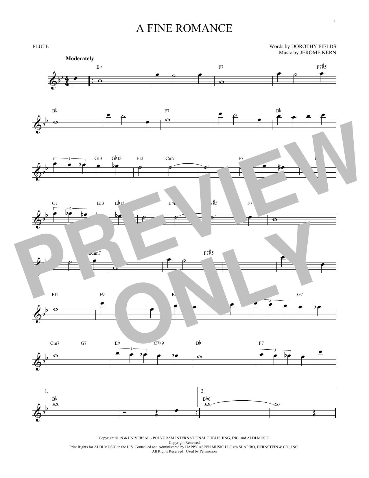 Partition flûte A Fine Romance de Jerome Kern - Flute traversiere