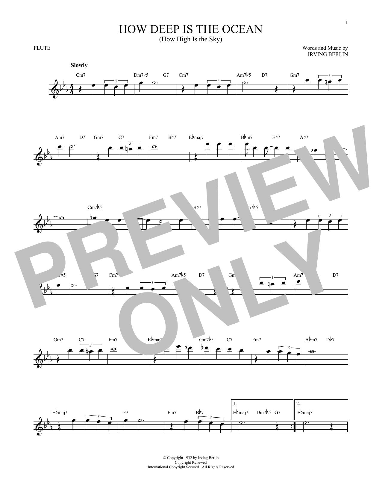 Partition flûte How Deep Is The Ocean (How High Is The Sky) de Irving Berlin - Flute traversiere