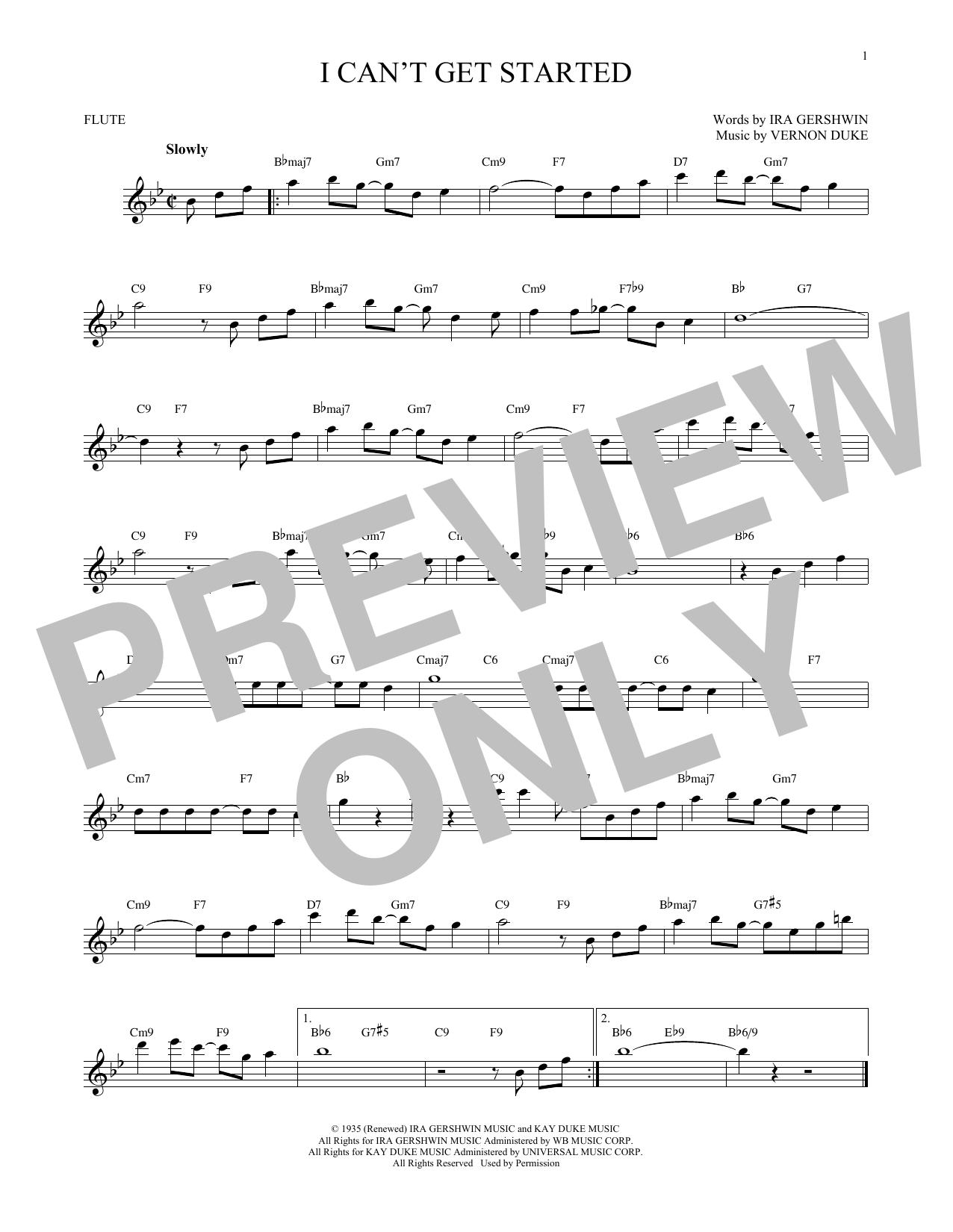 Partition flûte I Can't Get Started de Ira Gershwin - Flute traversiere