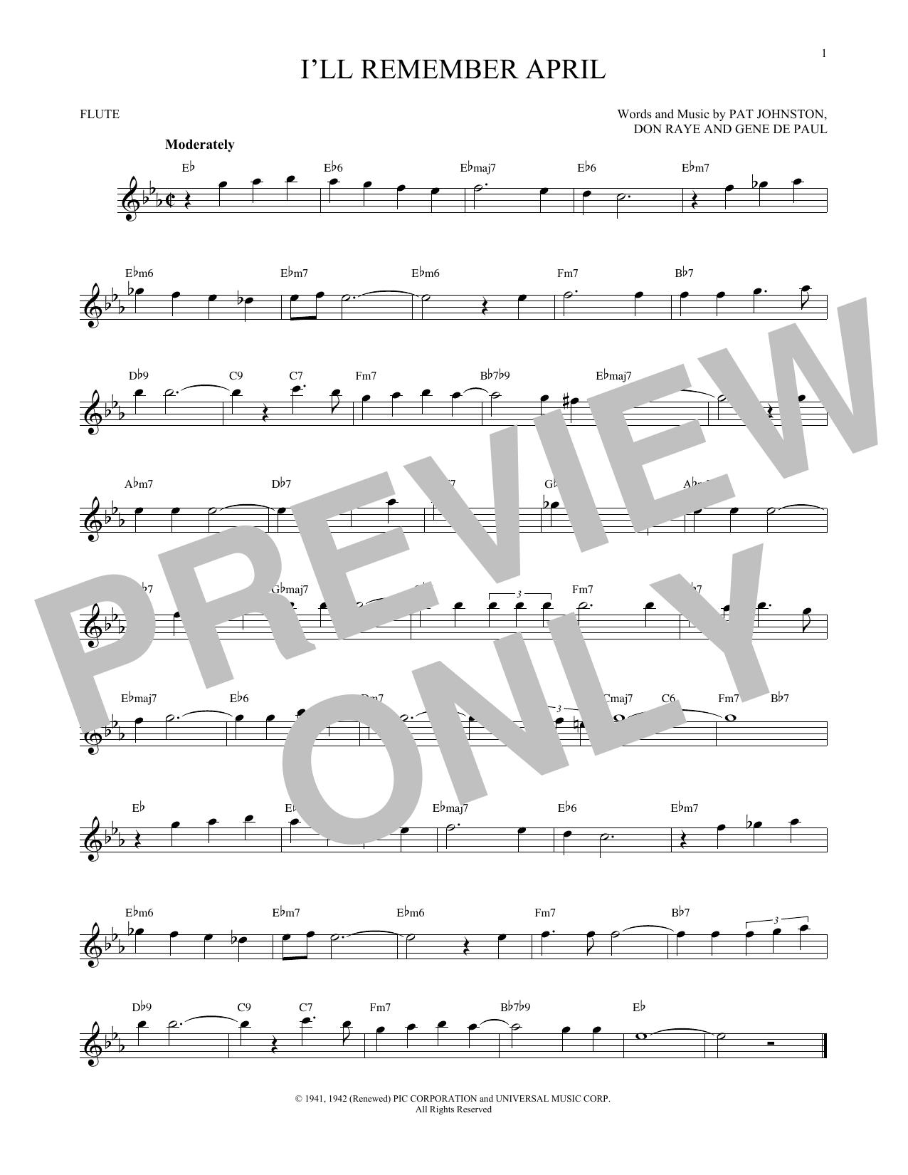 Partition flûte I'll Remember April de Woody Herman & His Orchestra - Flute traversiere