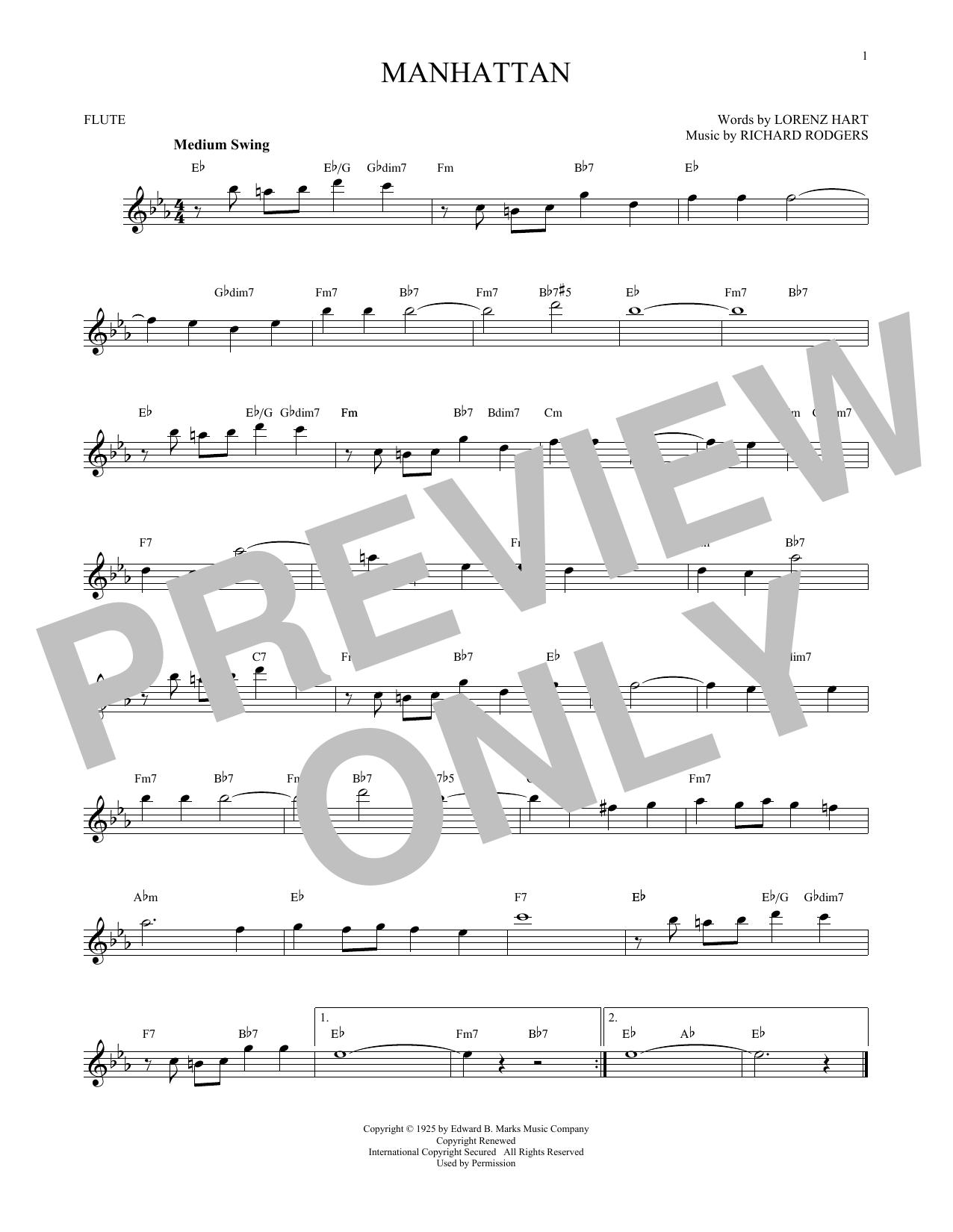 Partition flûte Manhattan de Rodgers & Hart - Flute traversiere