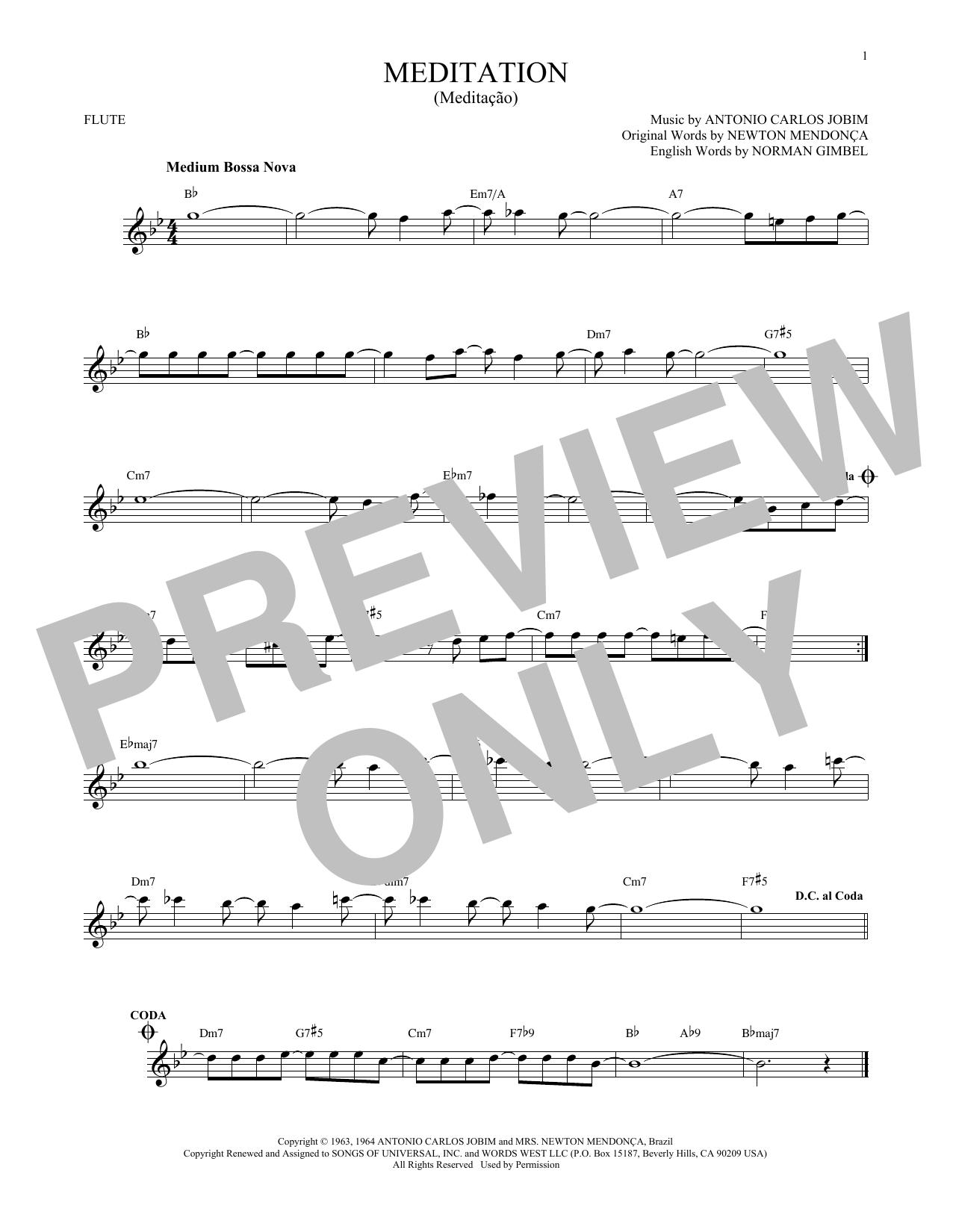 Partition flûte Meditation (Meditacao) de Antonio Carlos Jobim - Flute traversiere