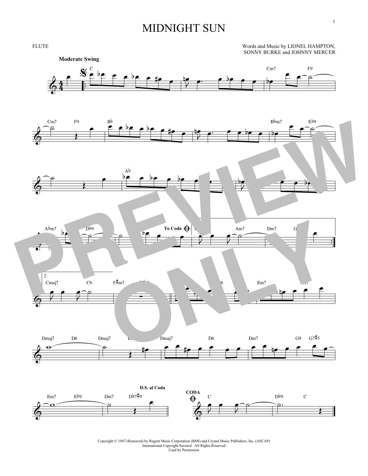 Partition flûte Midnight Sun de Johnny Mercer - Flute traversiere