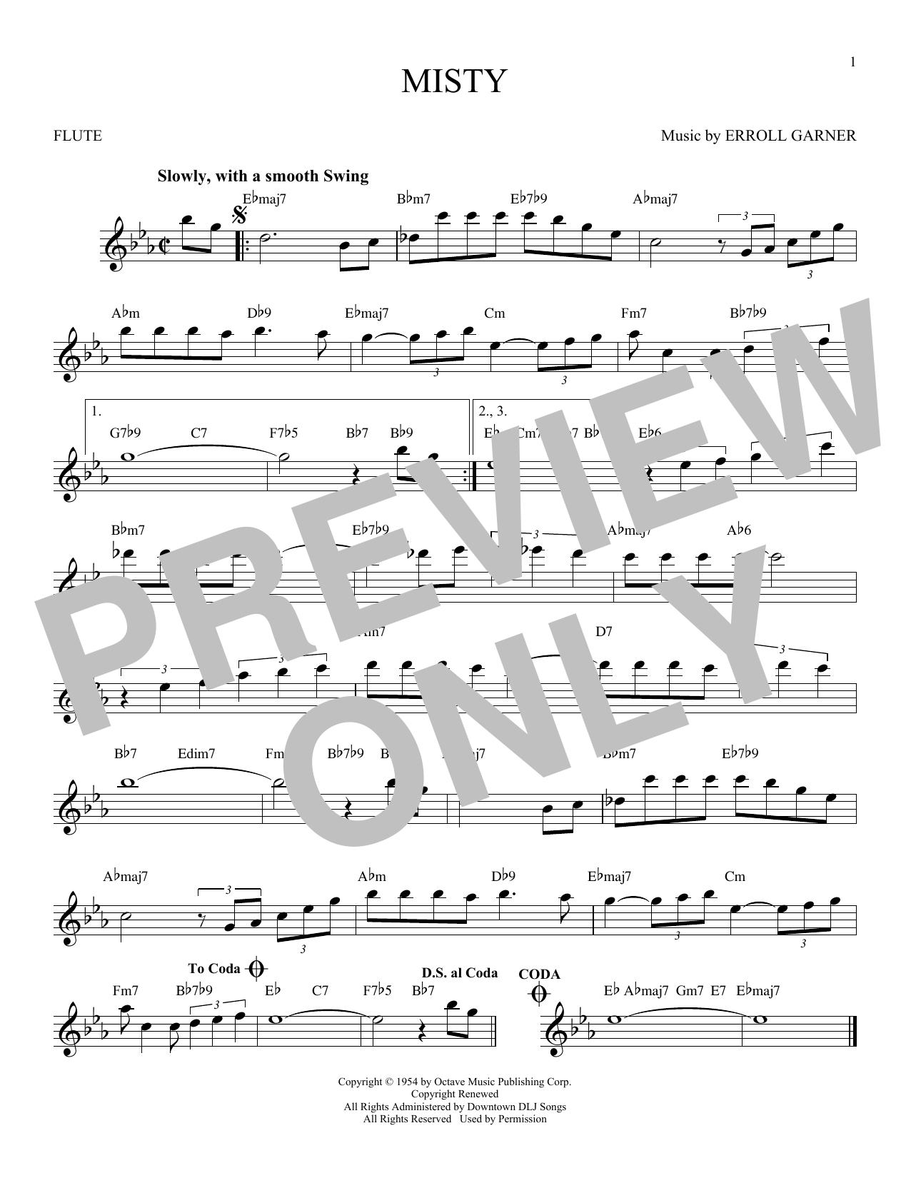 Partition flûte Misty de Erroll Garner - Flute traversiere