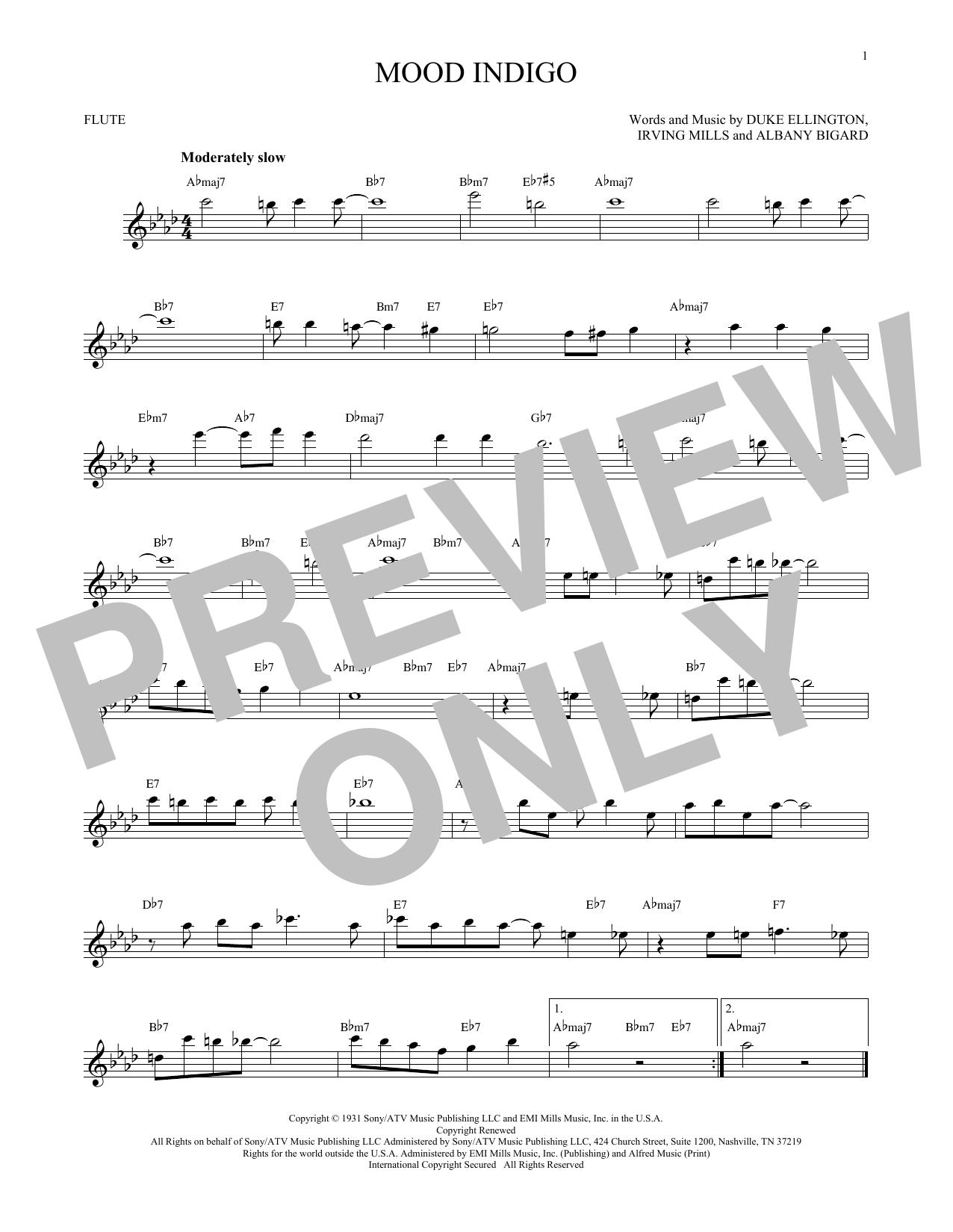 Partition flûte Mood Indigo de Duke Ellington - Flute traversiere