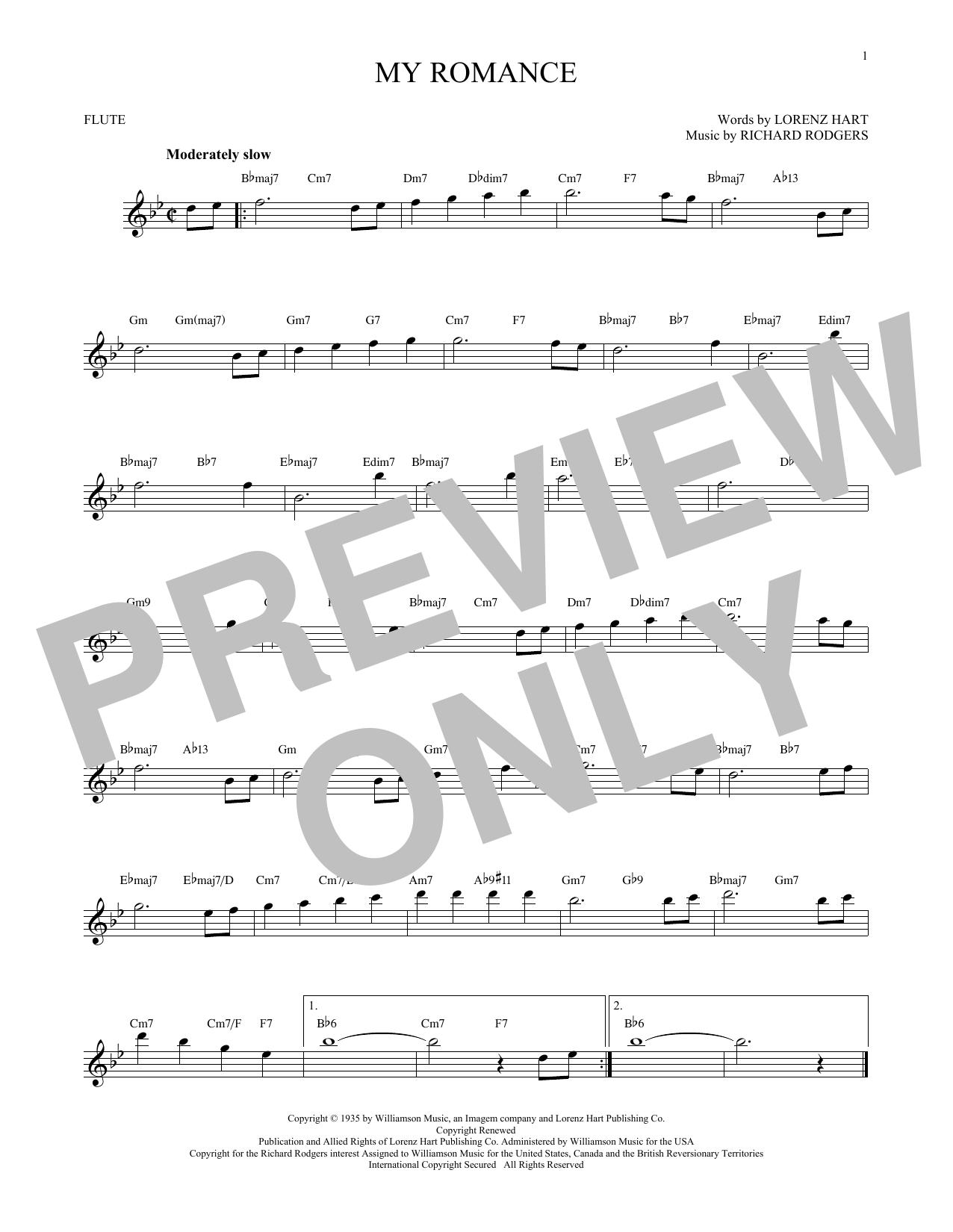 Partition flûte My Romance de Rodgers & Hart - Flute traversiere