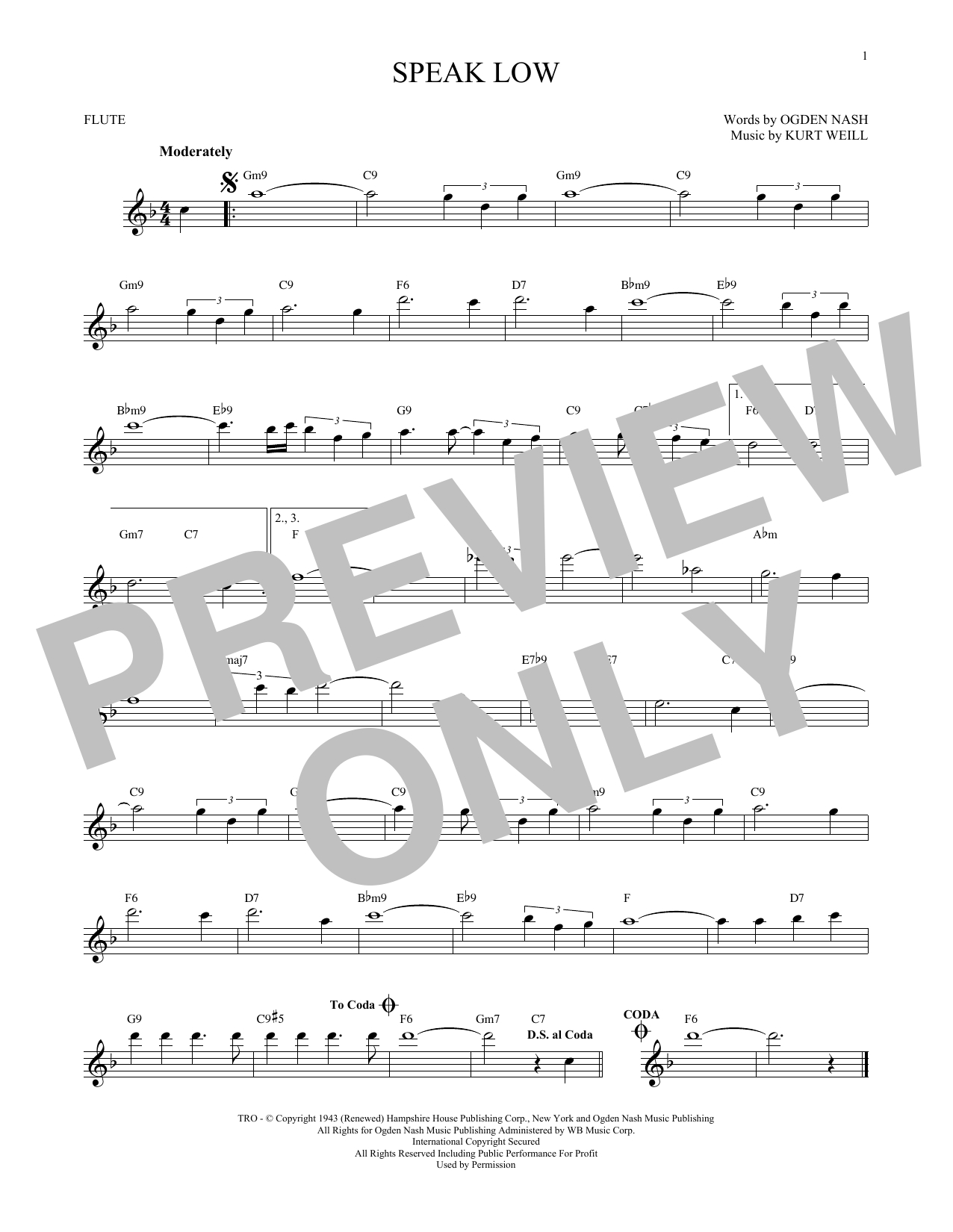 Partition flûte Speak Low de Kurt Weill - Flute traversiere