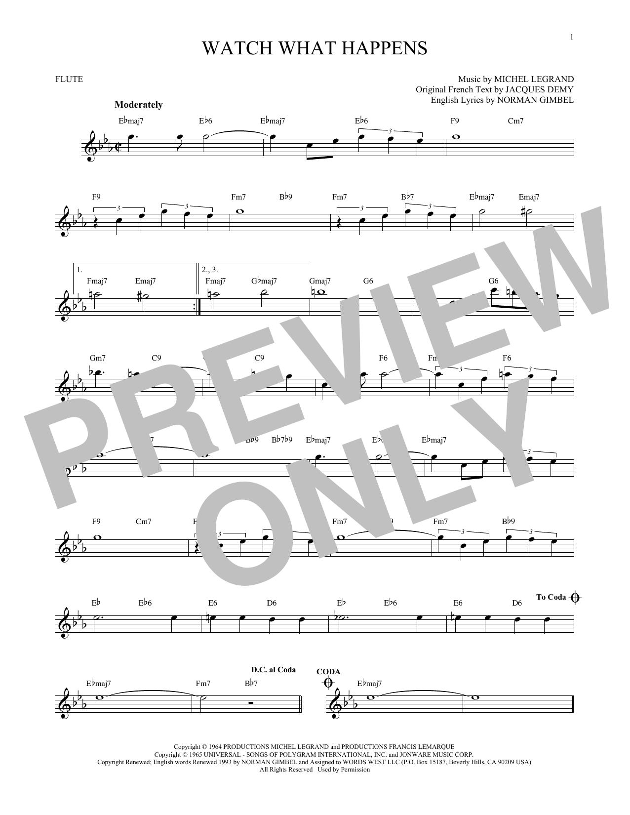 Partition flûte Watch What Happens de Norman Gimbel - Flute traversiere