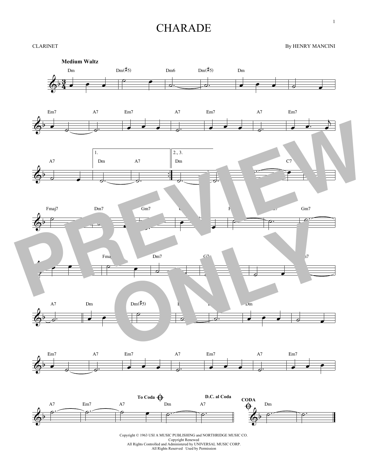 Partition clarinette Charade de Henry Mancini - Clarinette