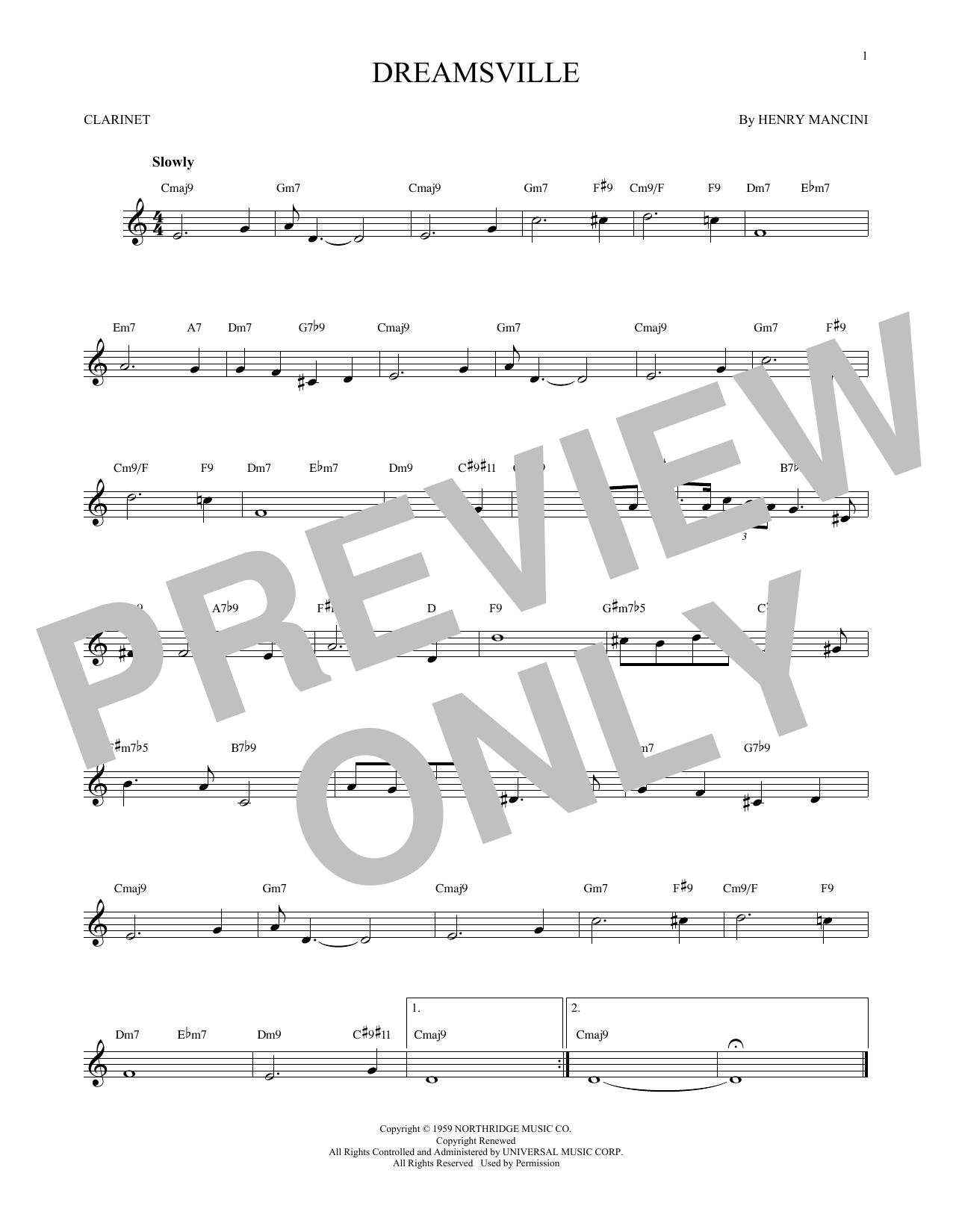 Partition clarinette Dreamsville de Henry Mancini - Clarinette