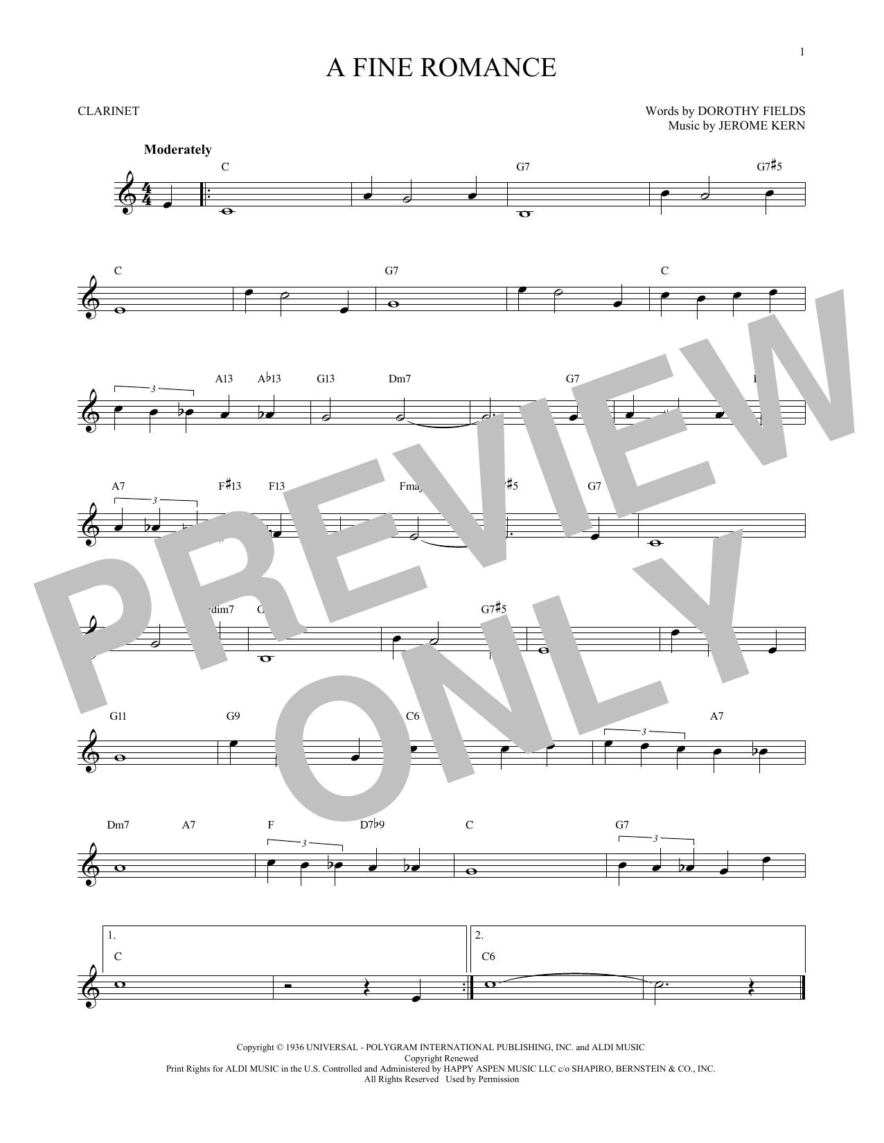 Partition clarinette A Fine Romance de Jerome Kern - Clarinette