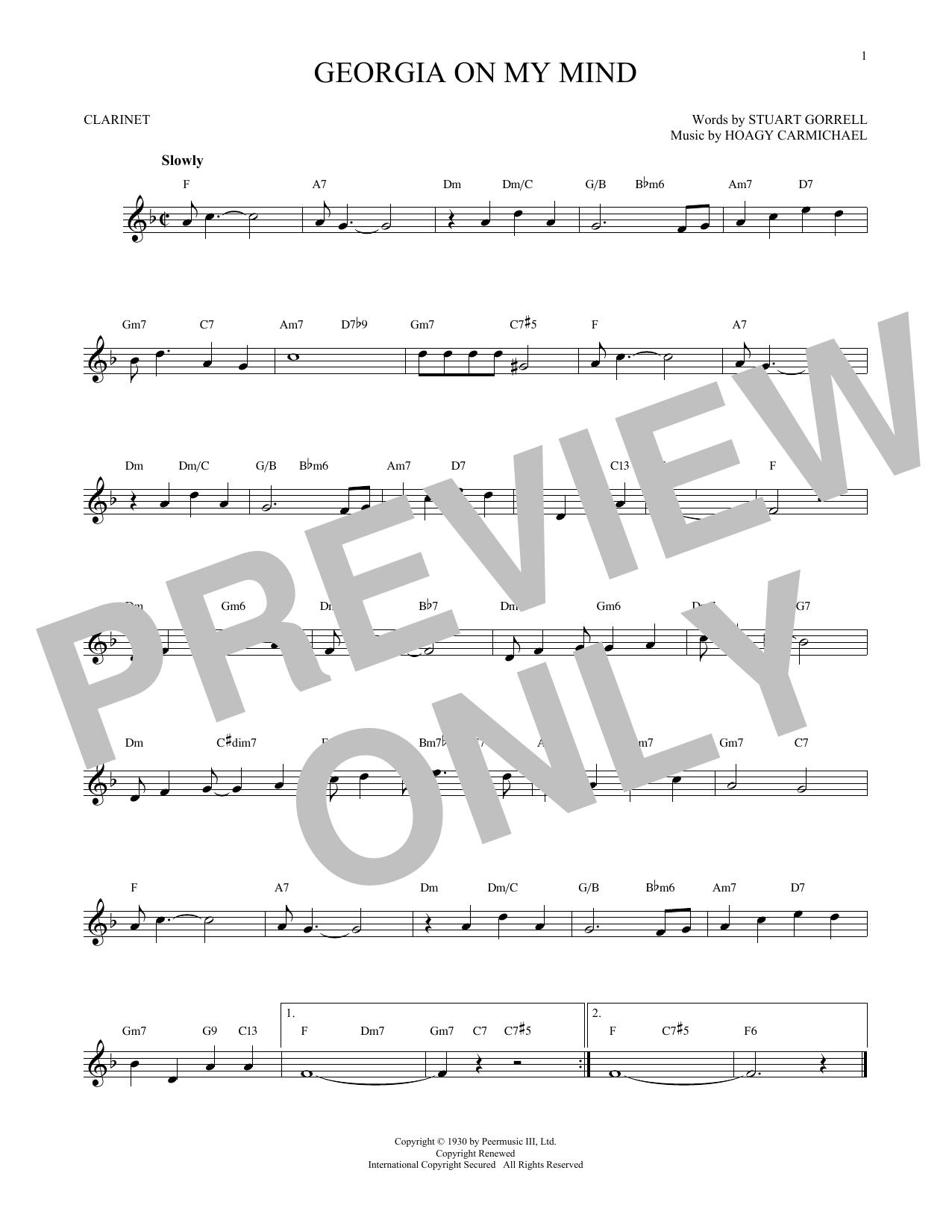 Partition clarinette Georgia On My Mind de Hoagy Carmichael - Clarinette