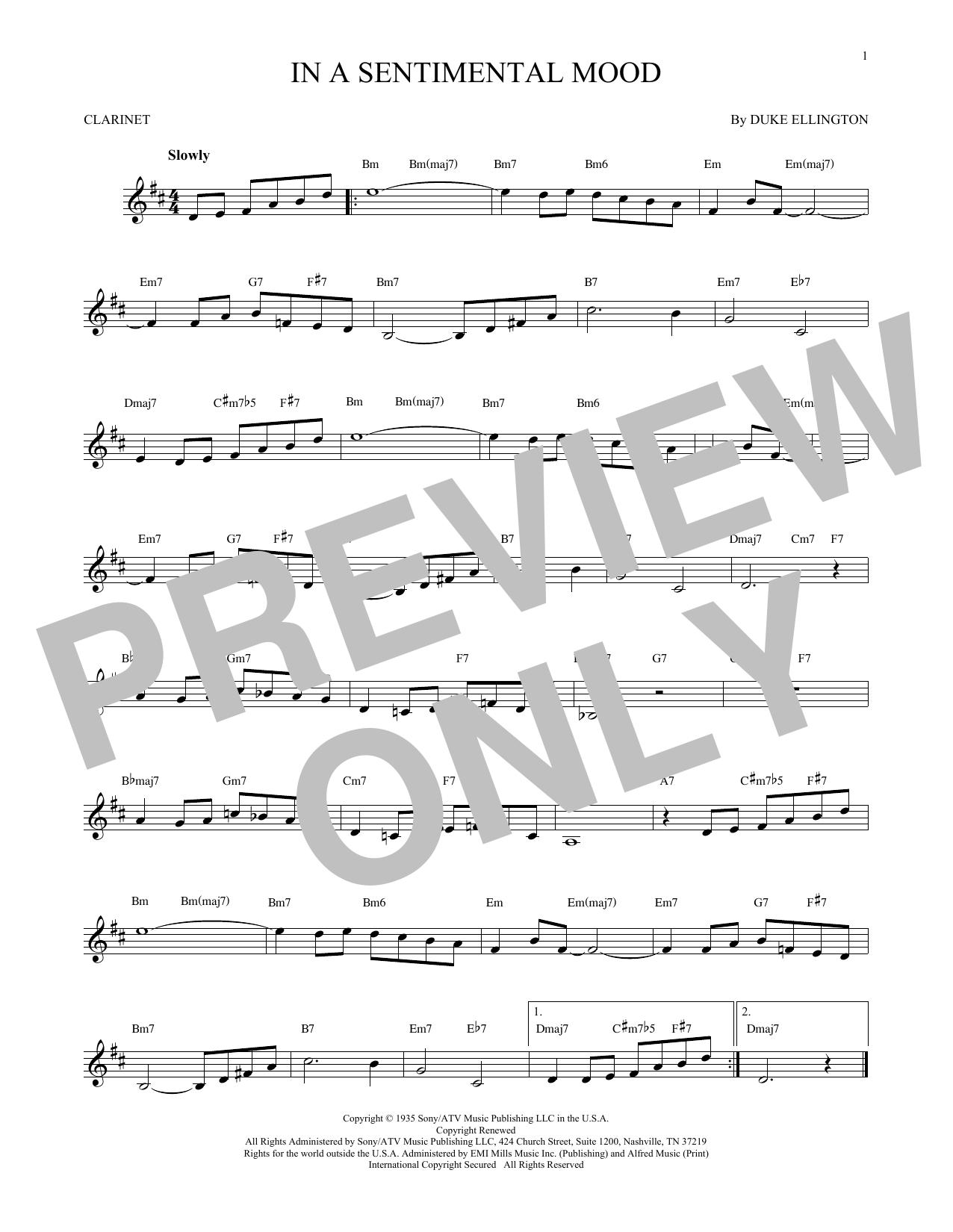 Partition clarinette In A Sentimental Mood de Duke Ellington - Clarinette