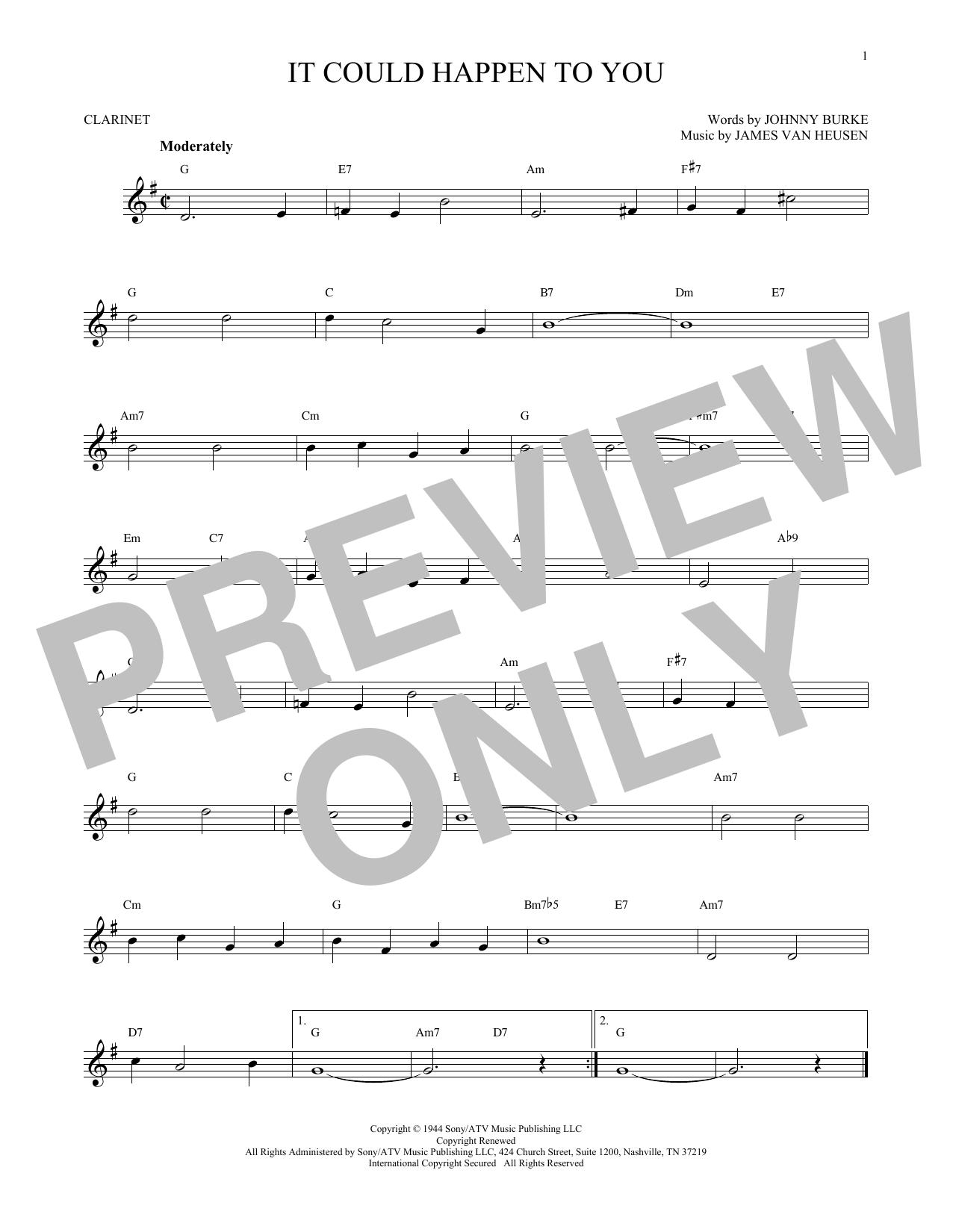 Partition clarinette It Could Happen To You de James Van Heusen - Clarinette