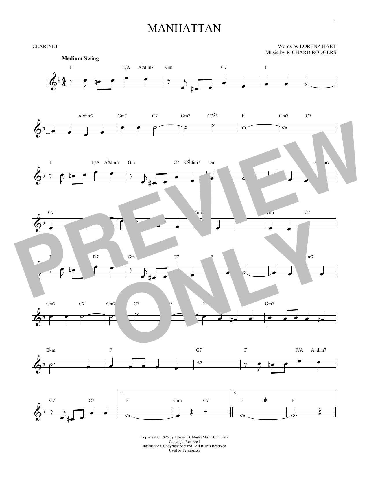 Partition clarinette Manhattan de Rodgers & Hart - Clarinette