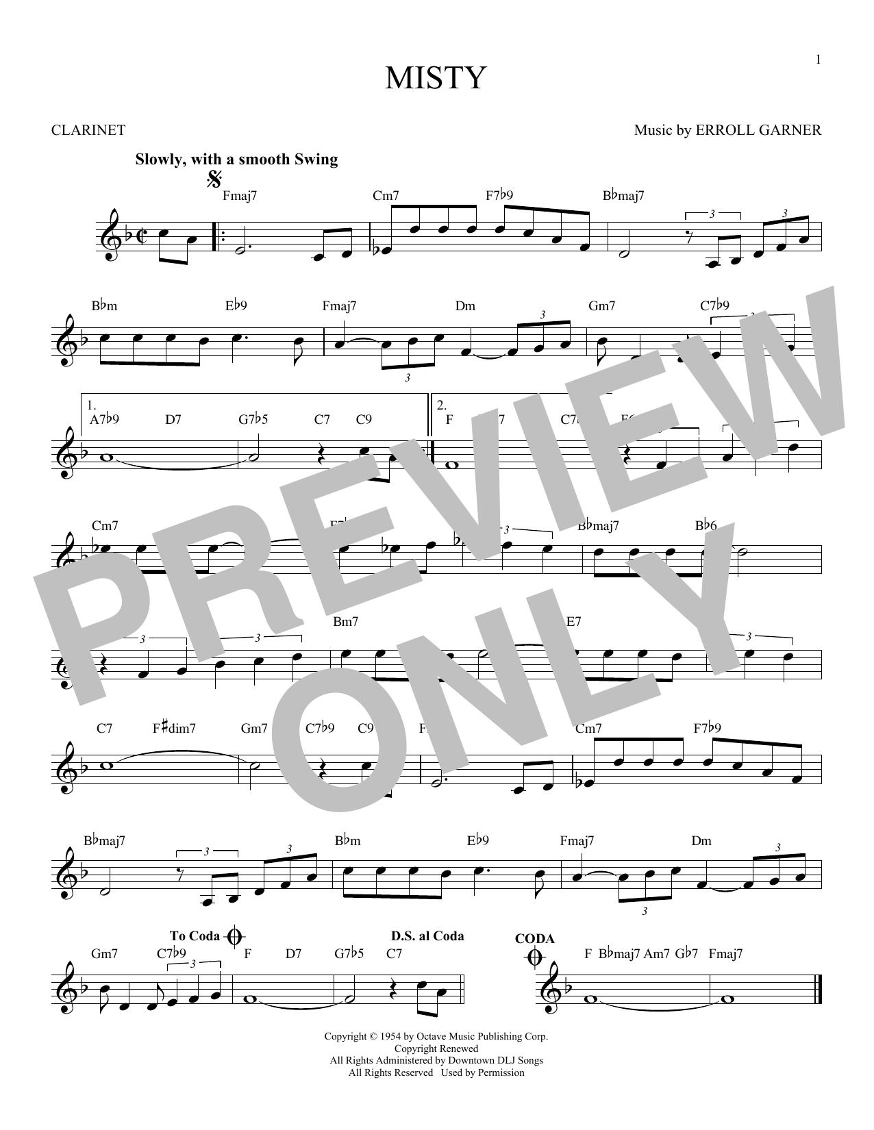 Partition clarinette Misty de Erroll Garner - Clarinette