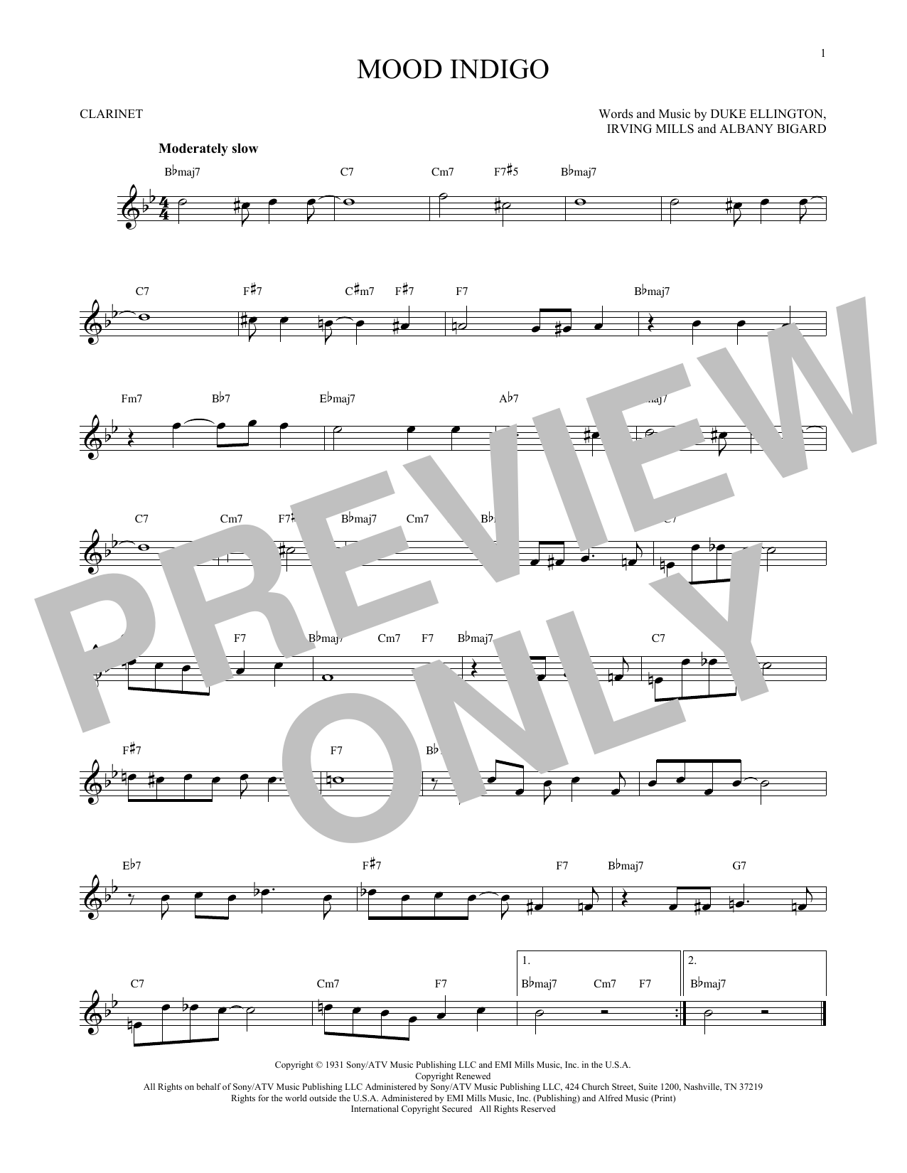 Partition clarinette Mood Indigo de Duke Ellington - Clarinette