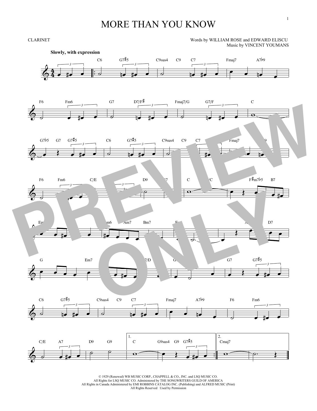 Partition clarinette More Than You Know de Vincent Youmans - Clarinette