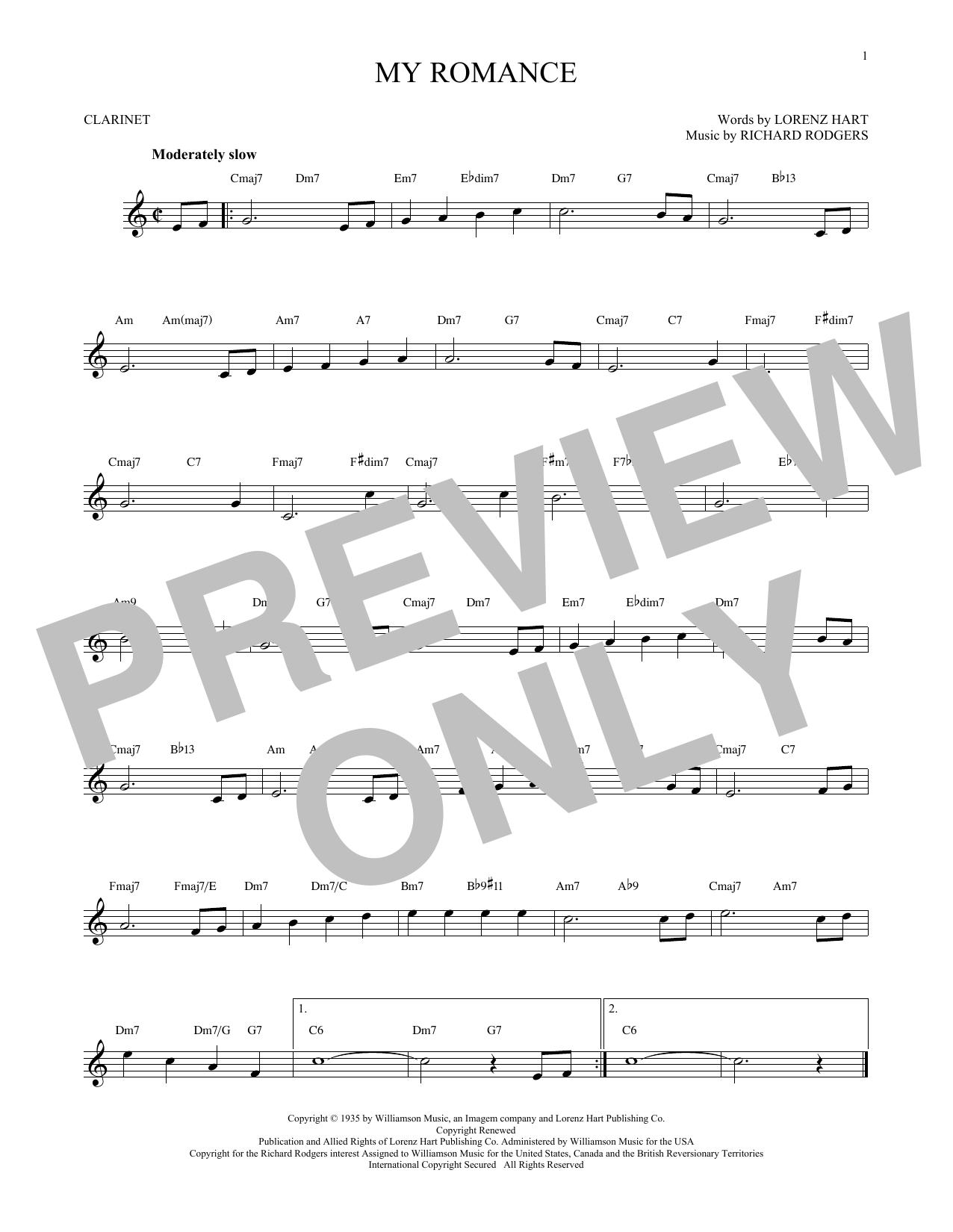 Partition clarinette My Romance de Rodgers & Hart - Clarinette